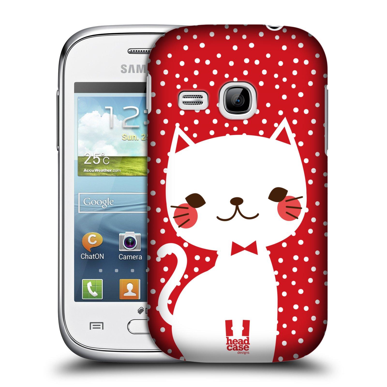 Plastové pouzdro na mobil Samsung Galaxy Young HEAD CASE KOČIČKA BÍLÁ NA ČERVENÉ