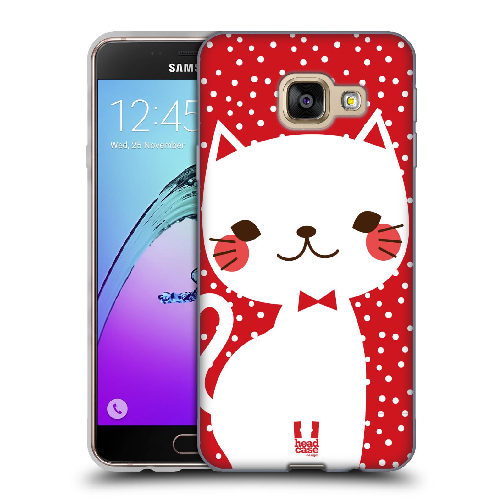 Silikonové pouzdro na mobil Samsung Galaxy A3 (2016) HEAD CASE KOČIČKA BÍLÁ NA ČERVENÉ
