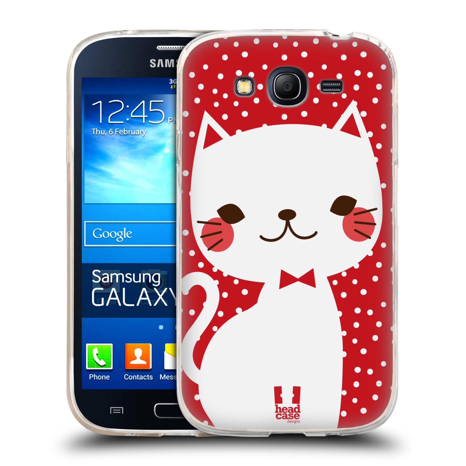 Silikonové pouzdro na mobil Samsung Galaxy Grand Neo HEAD CASE KOČIČKA BÍLÁ NA ČERVENÉ (Silikonový kryt či obal na mobilní telefon Samsung Galaxy Grand Neo GT-I9060)