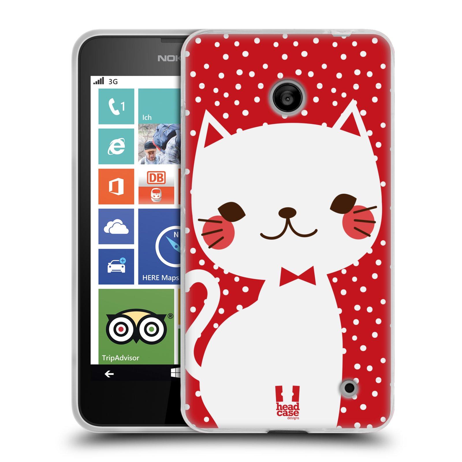 Silikonové pouzdro na mobil Nokia Lumia 630 HEAD CASE KOČIČKA BÍLÁ NA ČERVENÉ (Silikonový kryt či obal na mobilní telefon Nokia Lumia 630 a Nokia Lumia 630 Dual SIM)