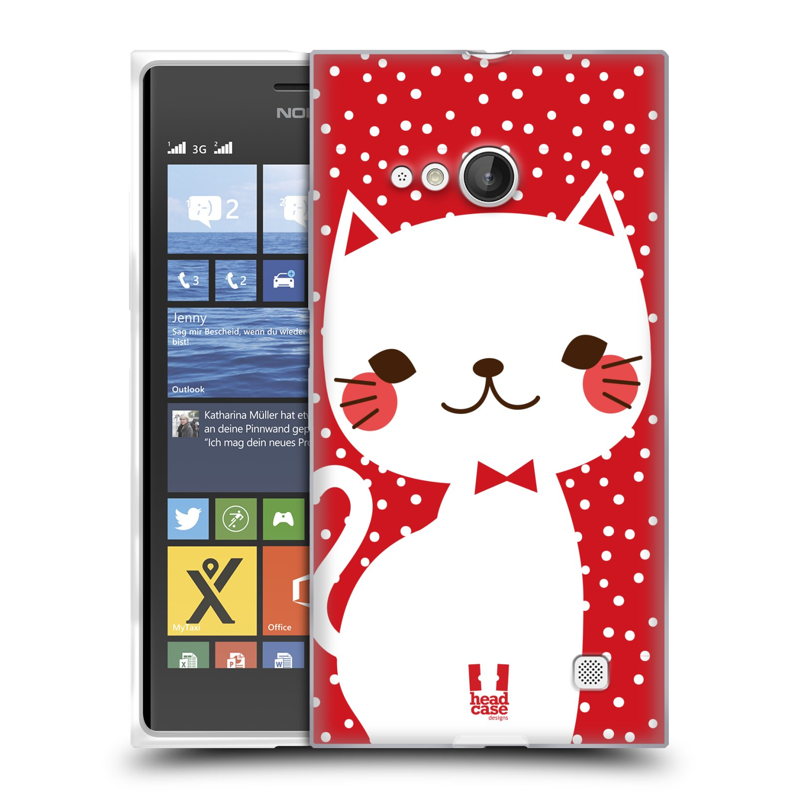 Silikonové pouzdro na mobil Nokia Lumia 730 Dual SIM HEAD CASE KOČIČKA BÍLÁ NA ČERVENÉ (Silikonový kryt či obal na mobilní telefon Nokia Lumia 730 Dual SIM)