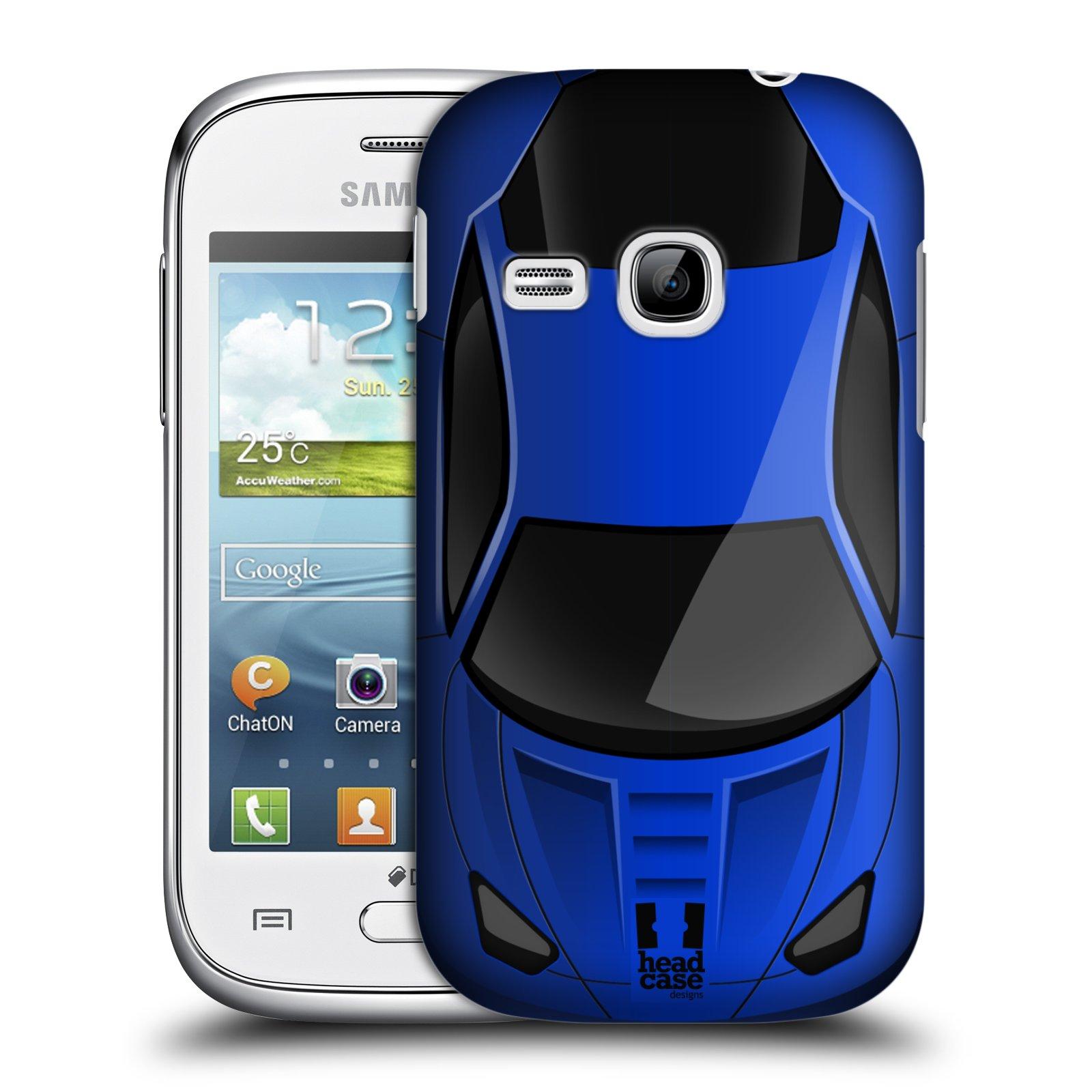 Plastové pouzdro na mobil Samsung Galaxy Young HEAD CASE AUTO MODRÉ
