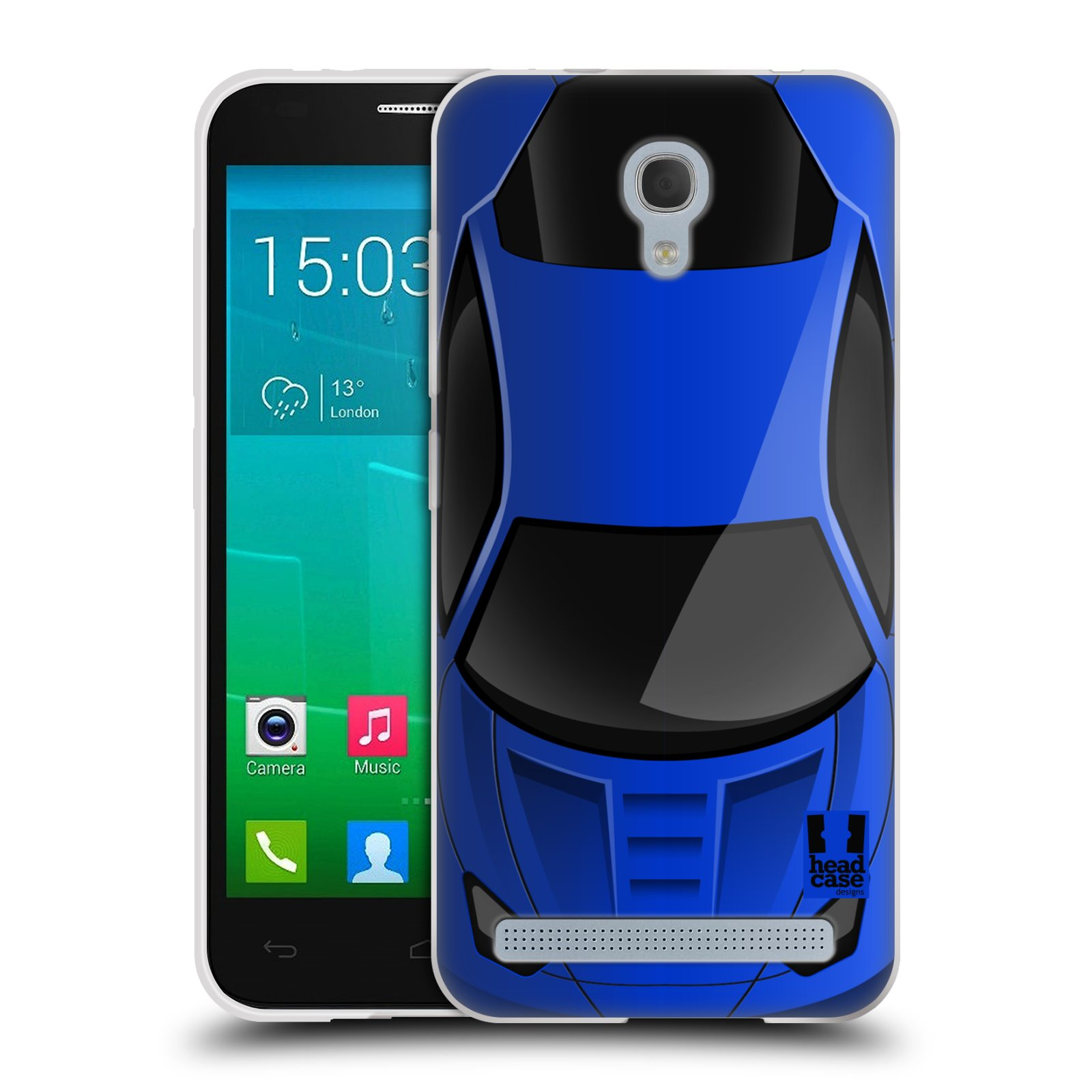 Silikonové pouzdro na mobil Alcatel One Touch Idol 2 Mini S 6036Y HEAD CASE AUTO MODRÉ (Silikonový kryt či obal na mobilní telefon Alcatel Idol 2 Mini S OT-6036Y)