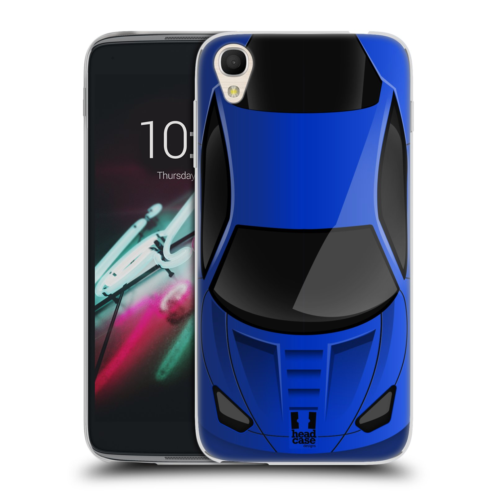 "Silikonové pouzdro na mobil Alcatel One Touch 6039Y Idol 3 HEAD CASE AUTO MODRÉ (Silikonový kryt či obal na mobilní telefon Alcatel One Touch Idol 3 OT-6039Y s 4,7"" displejem)"