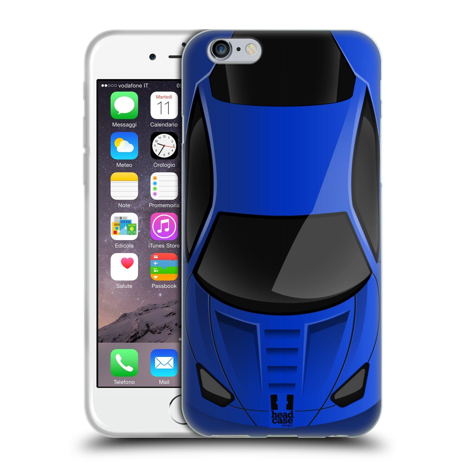 Silikonové pouzdro na mobil Apple iPhone 6 a 6S HEAD CASE AUTO MODRÉ