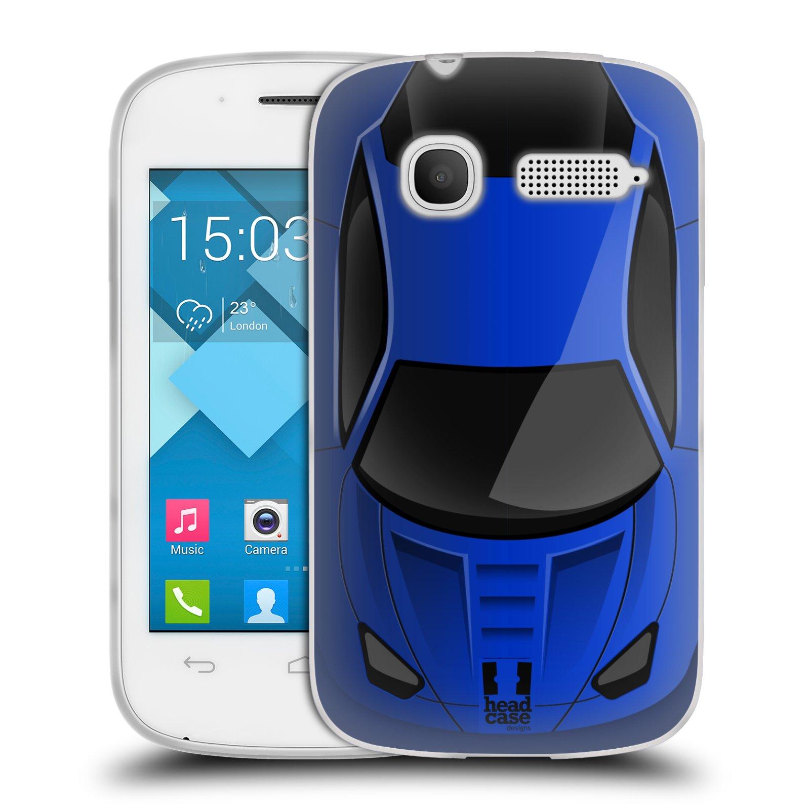 Silikonové pouzdro na mobil Alcatel One Touch Pop C1 HEAD CASE AUTO MODRÉ (Silikonový kryt či obal na mobilní telefon Alcatel OT-4015D POP C1)