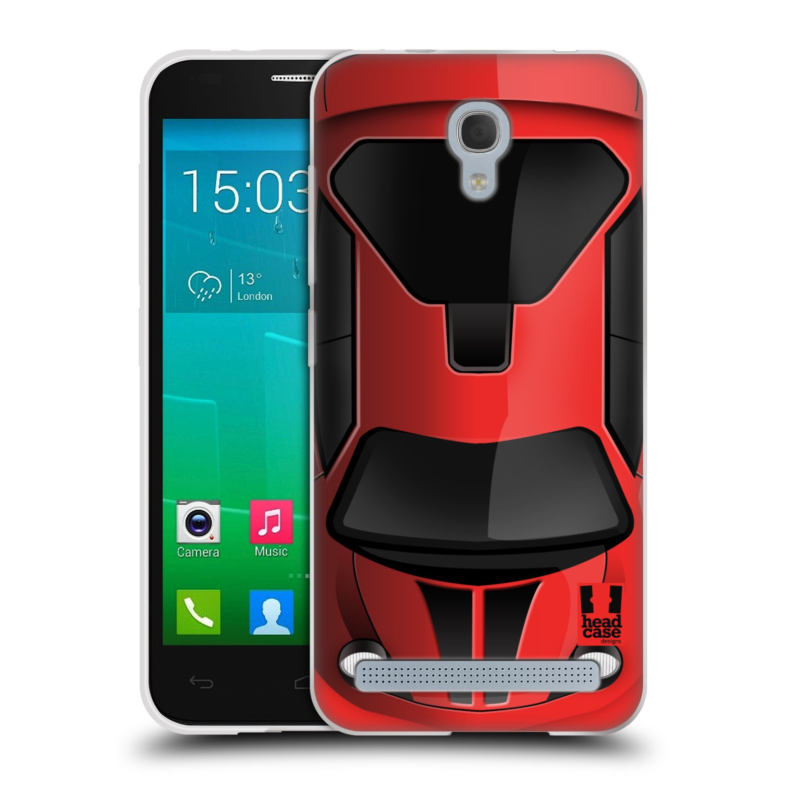 Silikonové pouzdro na mobil Alcatel One Touch Idol 2 Mini S 6036Y HEAD CASE AUTO ČERVENÉ (Silikonový kryt či obal na mobilní telefon Alcatel Idol 2 Mini S OT-6036Y)