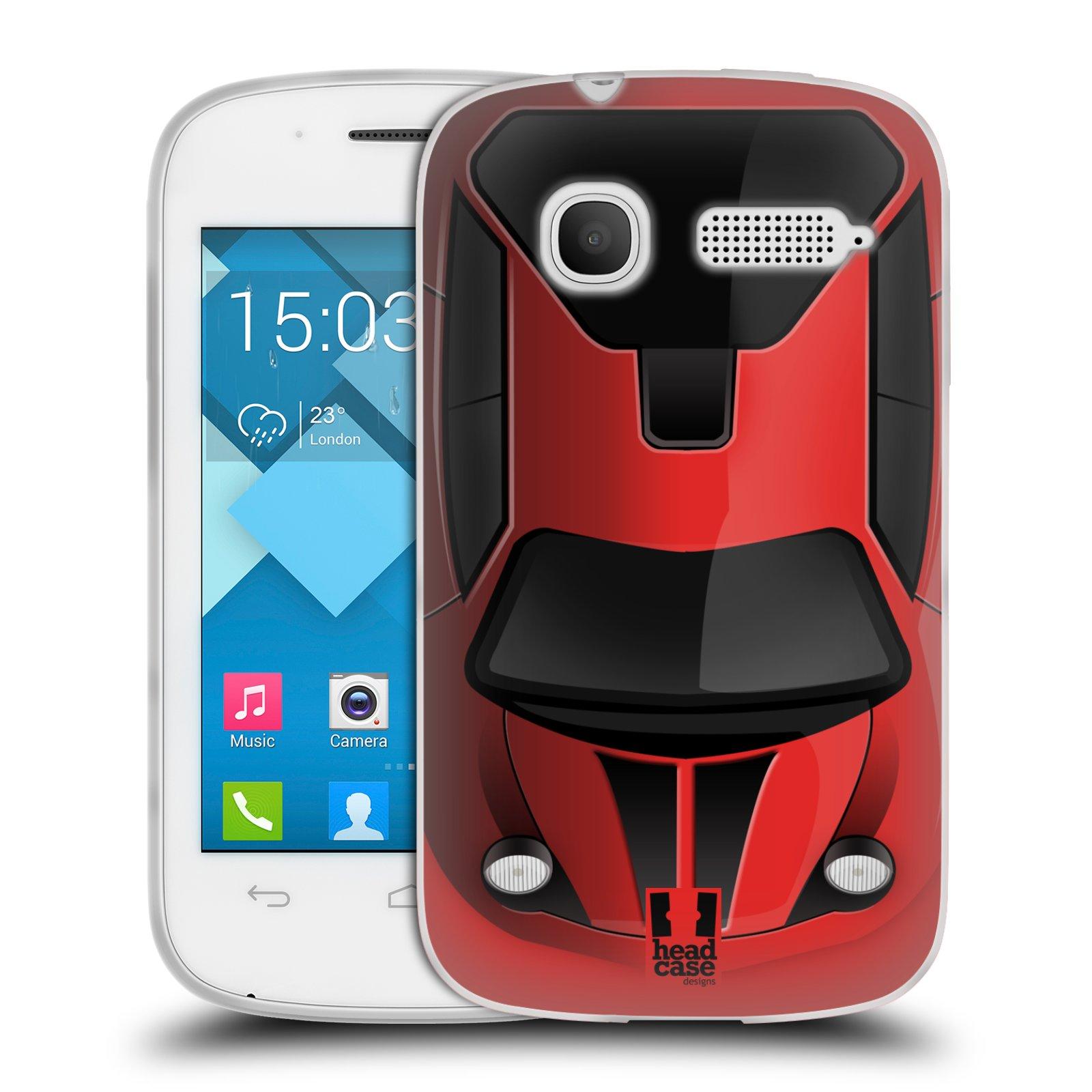 Silikonové pouzdro na mobil Alcatel One Touch Pop C1 HEAD CASE AUTO ČERVENÉ (Silikonový kryt či obal na mobilní telefon Alcatel OT-4015D POP C1)