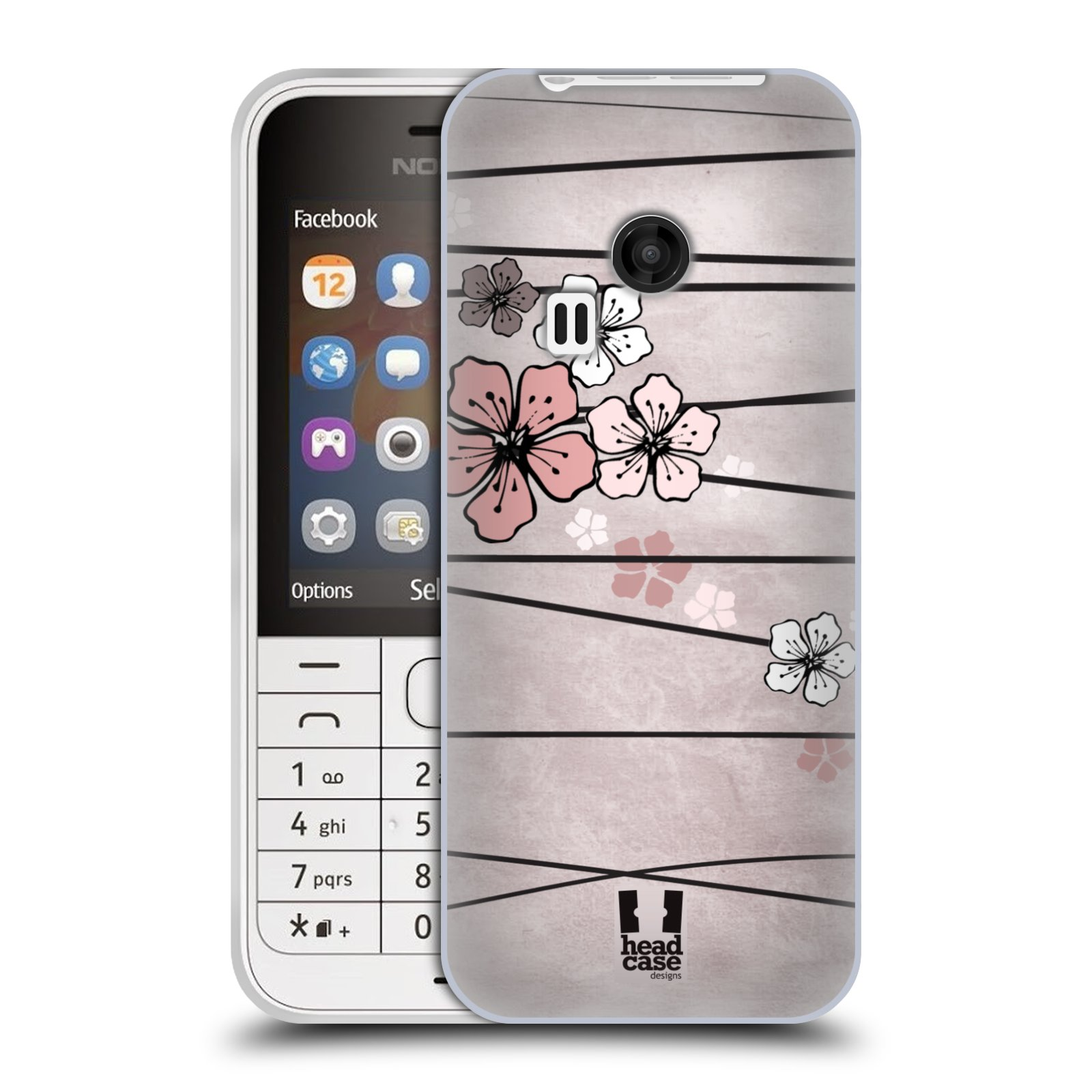 Silikonové pouzdro na mobil Nokia 220 HEAD CASE BLOSSOMS PAPER