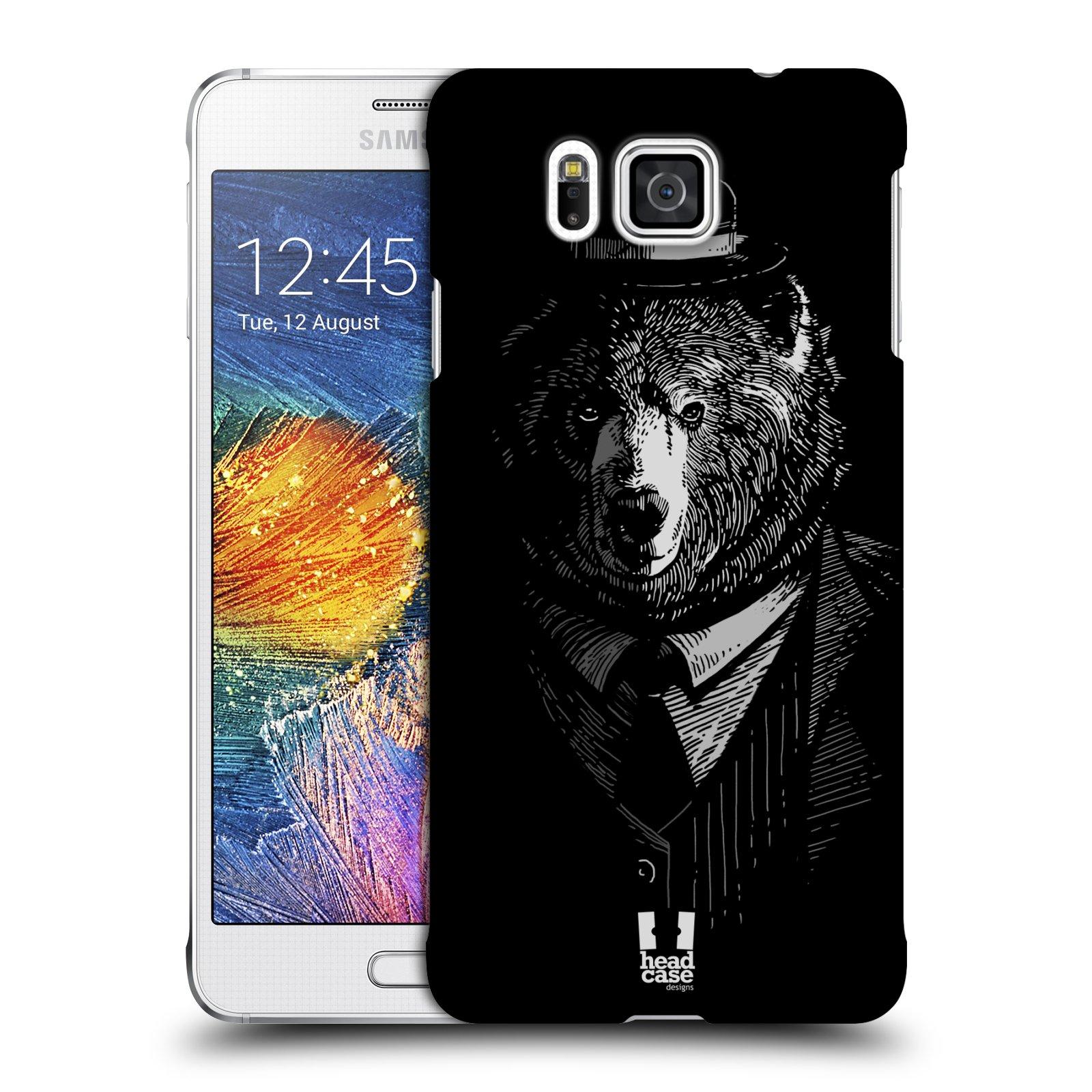 Plastové pouzdro na mobil Samsung Galaxy Alpha HEAD CASE MEDVĚD V KVÁDRU (Kryt či obal na mobilní telefon Samsung Galaxy Alpha SM-G850)