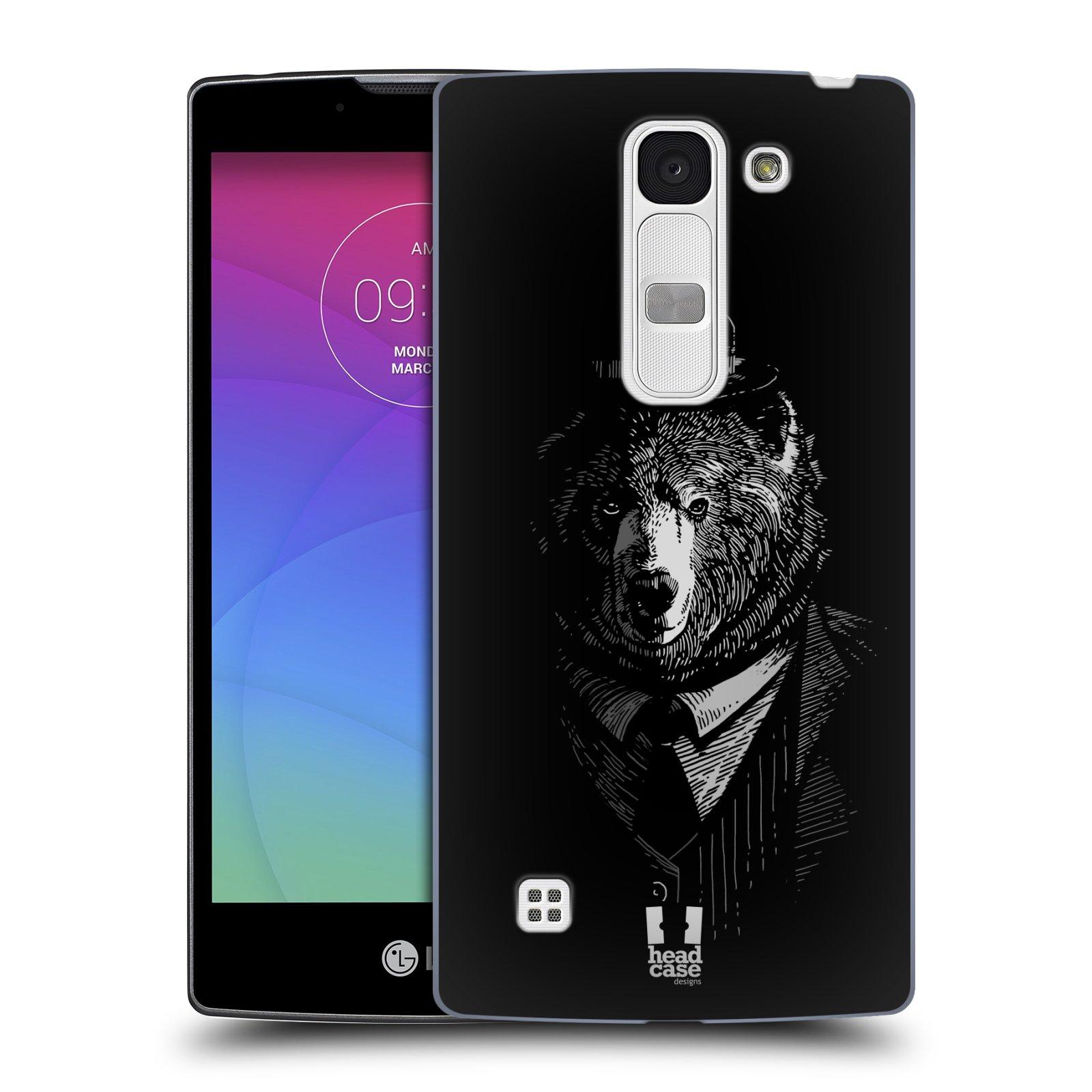 Plastové pouzdro na mobil LG Spirit LTE HEAD CASE MEDVĚD V KVÁDRU (Kryt či obal na mobilní telefon LG Spirit H420 a LG Spirit LTE H440N)