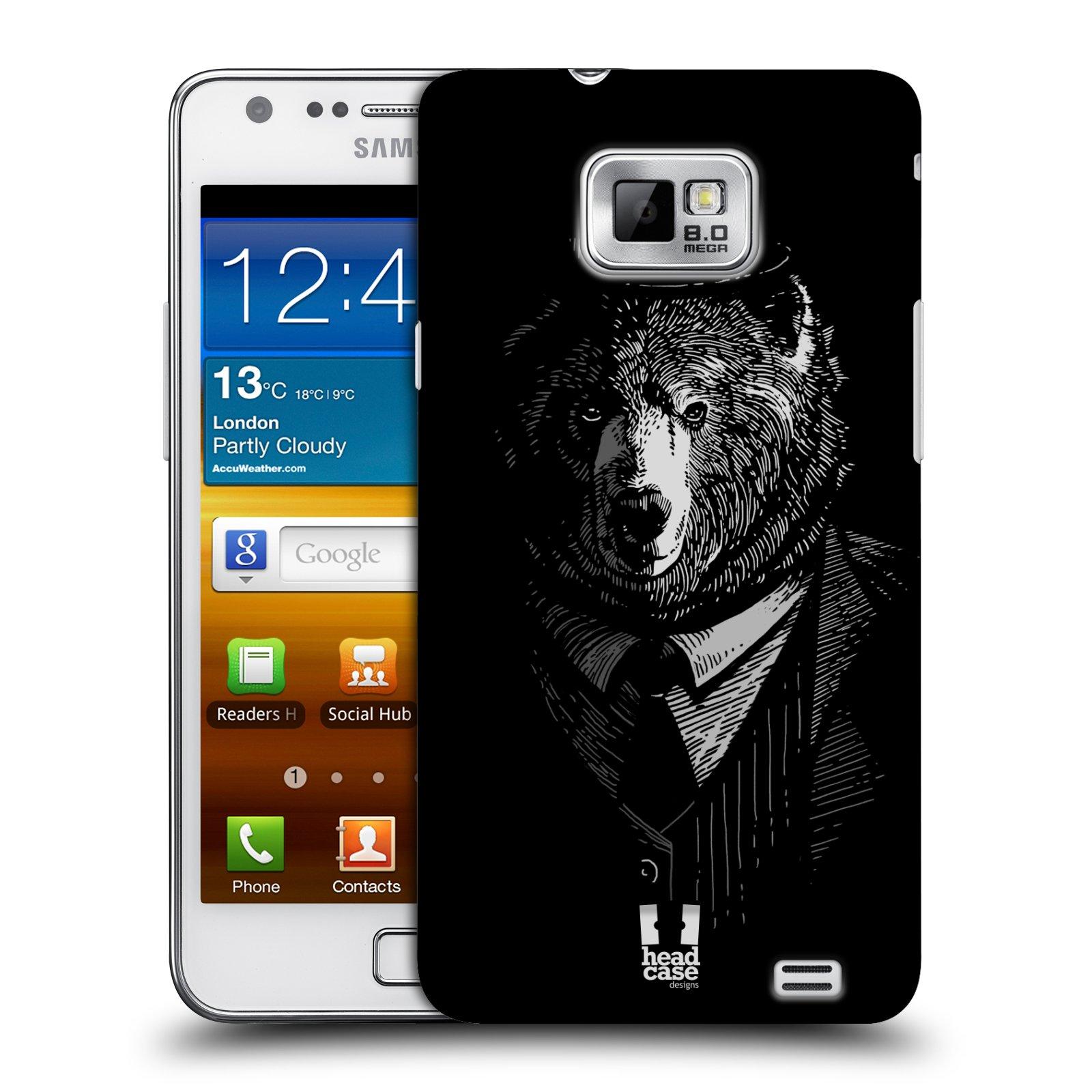 Plastové pouzdro na mobil Samsung Galaxy S II HEAD CASE MEDVĚD V KVÁDRU (Kryt či obal na mobilní telefon Samsung Galaxy S II GT-i9100)