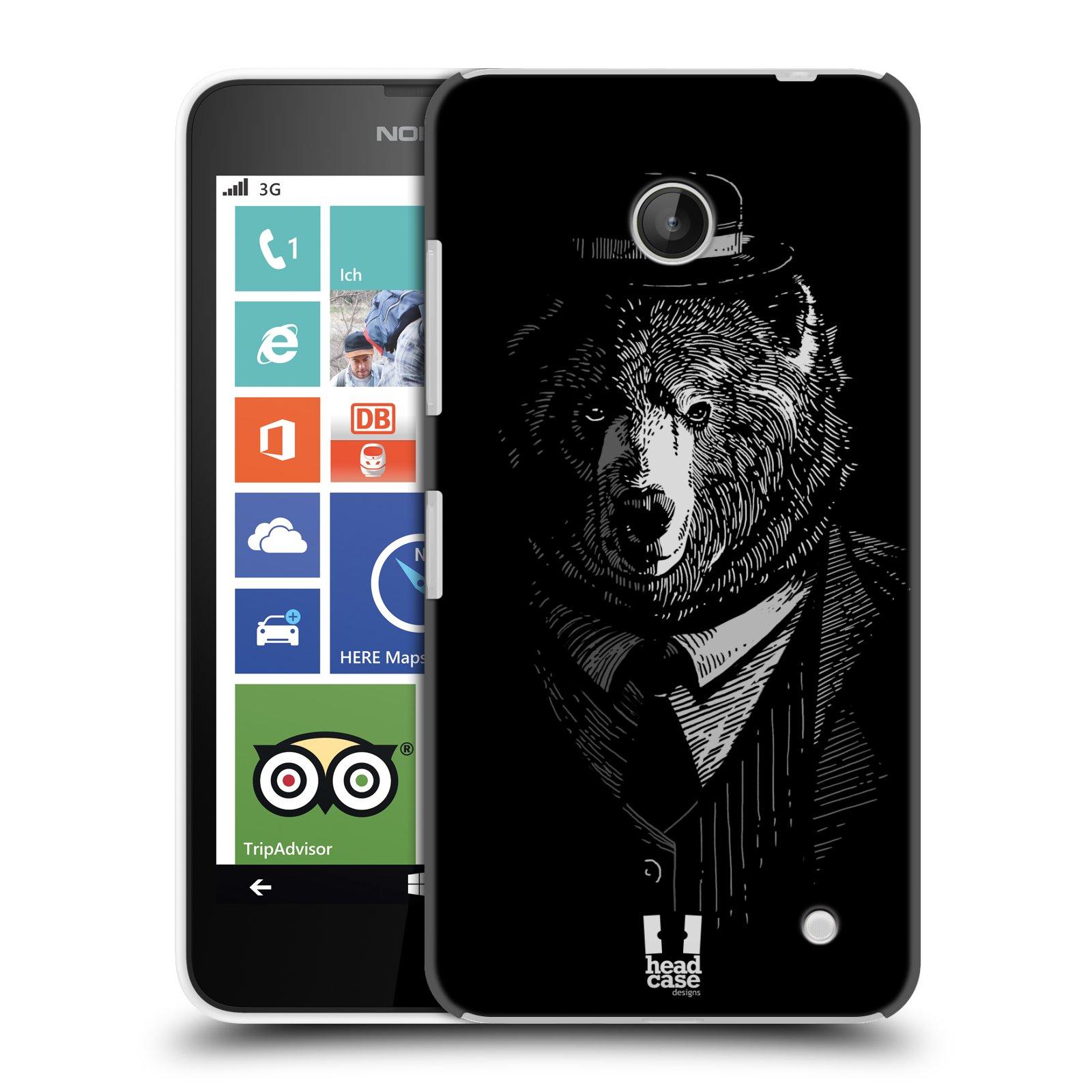 Plastové pouzdro na mobil Nokia Lumia 630 HEAD CASE MEDVĚD V KVÁDRU (Kryt či obal na mobilní telefon Nokia Lumia 630 a Nokia Lumia 630 Dual SIM)