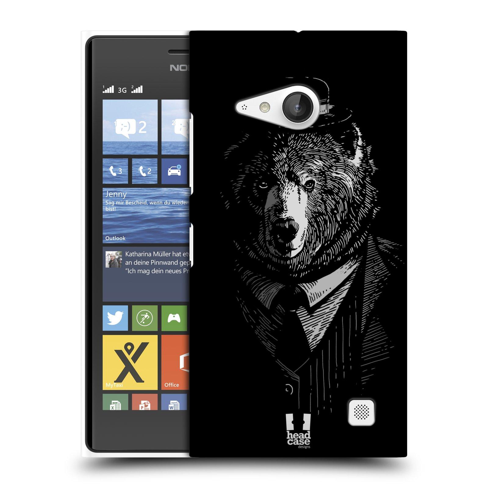 Plastové pouzdro na mobil Nokia Lumia 730 Dual SIM HEAD CASE MEDVĚD V KVÁDRU (Kryt či obal na mobilní telefon Nokia Lumia 730 Dual SIM)