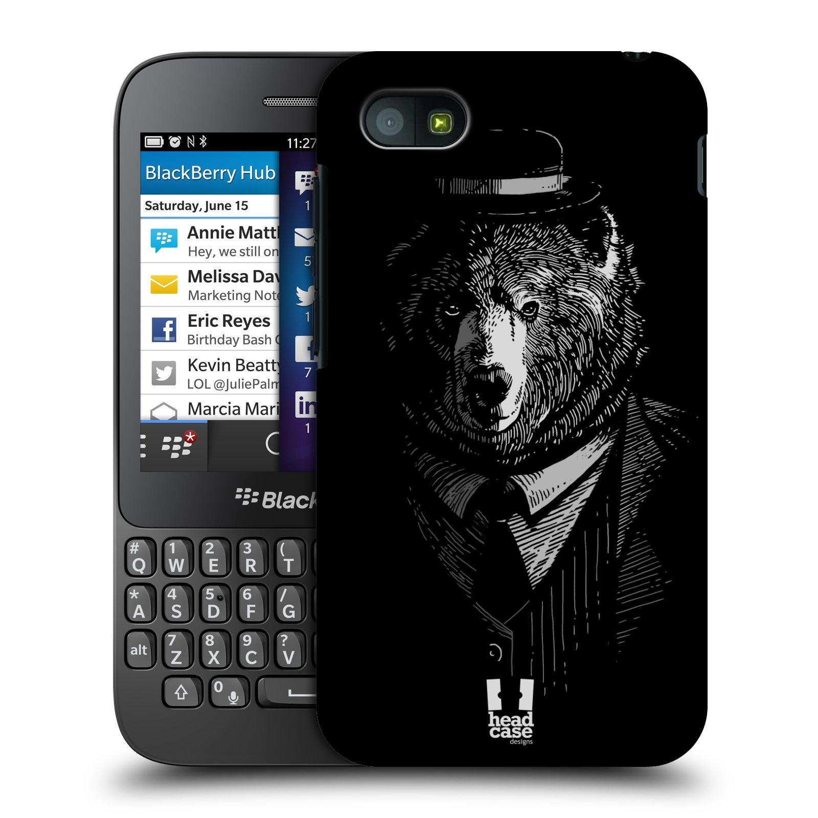 Plastové pouzdro na mobil Blackberry Q5 HEAD CASE MEDVĚD V KVÁDRU (Kryt či obal na mobilní telefon Blackberry Q5)