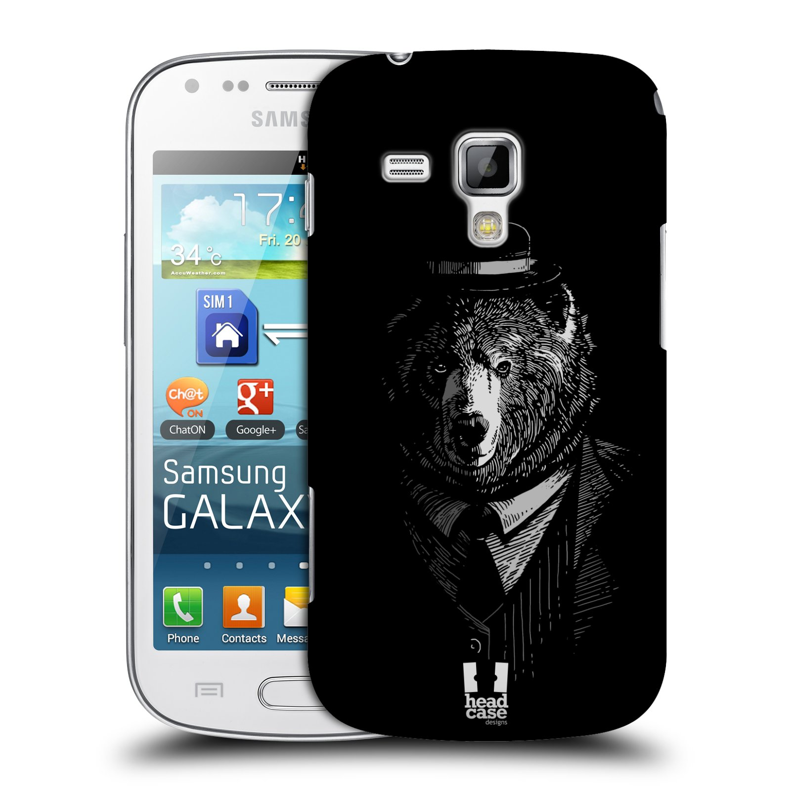 Plastové pouzdro na mobil Samsung Galaxy Trend HEAD CASE MEDVĚD V KVÁDRU (Kryt či obal na mobilní telefon Samsung Galaxy Trend GT-S7560)