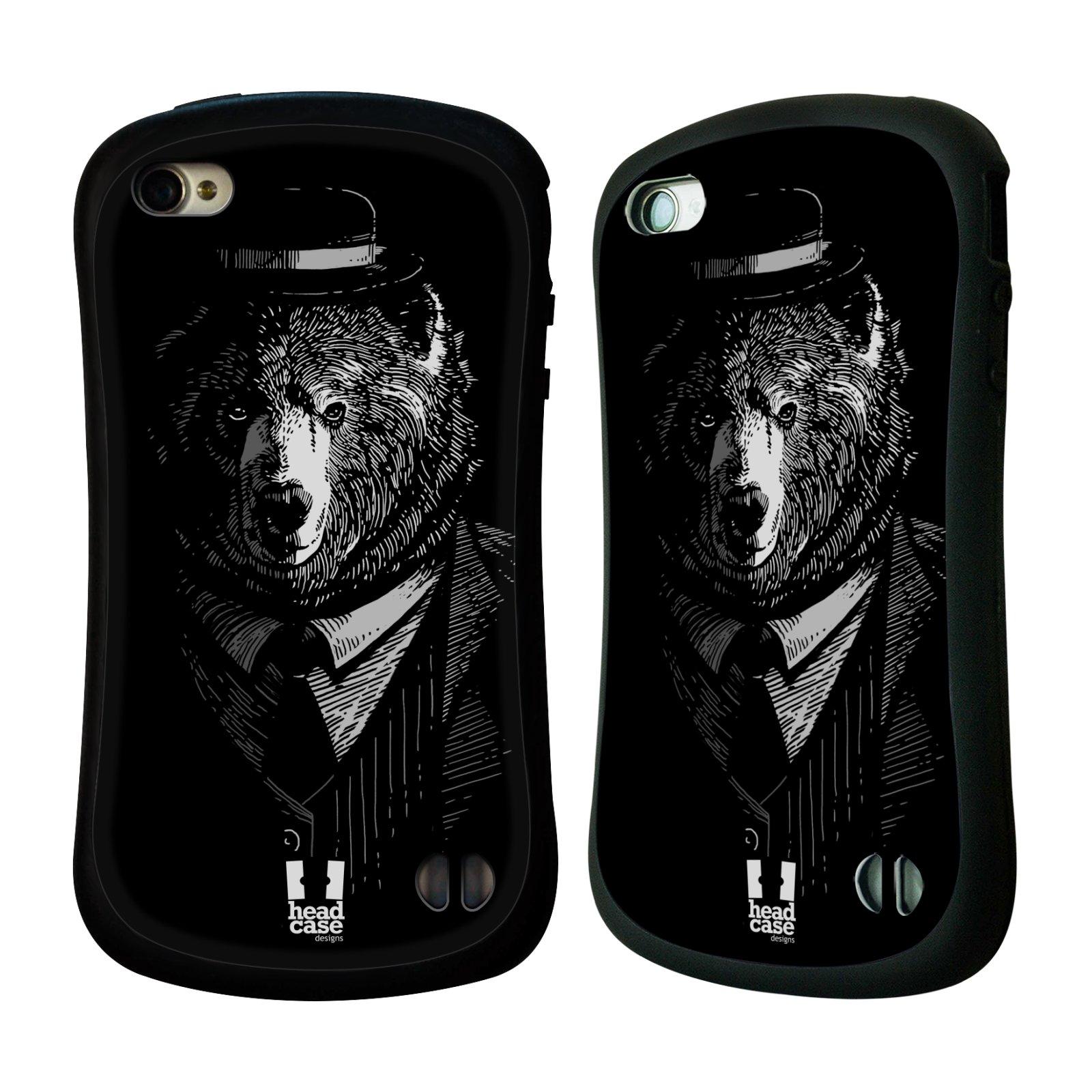 Nárazuvzdorné pouzdro na mobil Apple iPhone 4 a 4S HEAD CASE MEDVĚD V KVÁDRU (Odolný nárazuvzdorný silikonový kryt či obal na mobilní telefon Apple iPhone 4 a 4S)