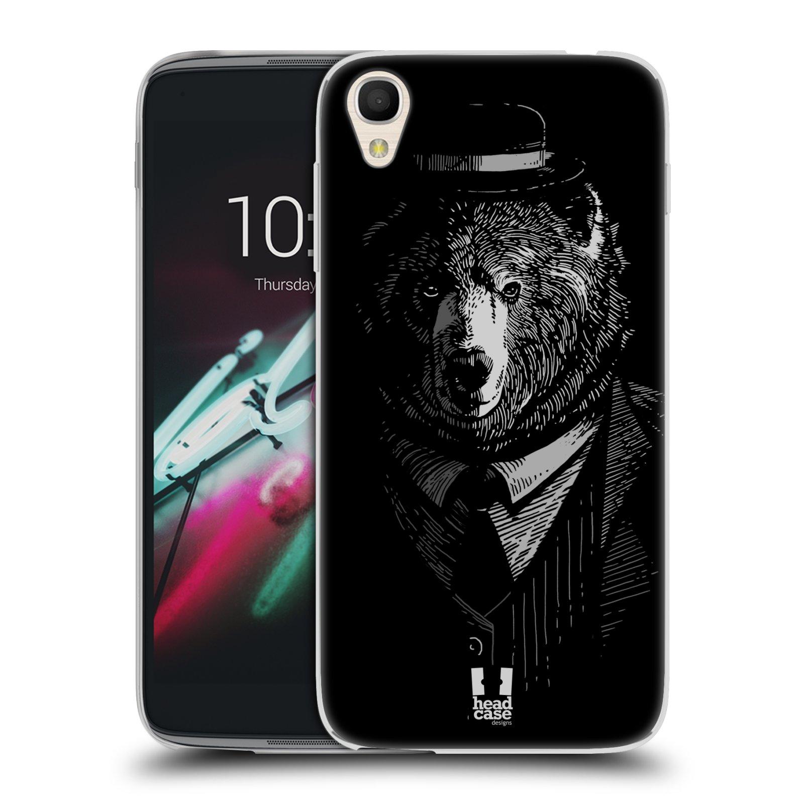 """Silikonové pouzdro na mobil Alcatel One Touch 6039Y Idol 3 HEAD CASE MEDVĚD V KVÁDRU (Silikonový kryt či obal na mobilní telefon Alcatel One Touch Idol 3 OT-6039Y s 4,7"""" displejem)"""