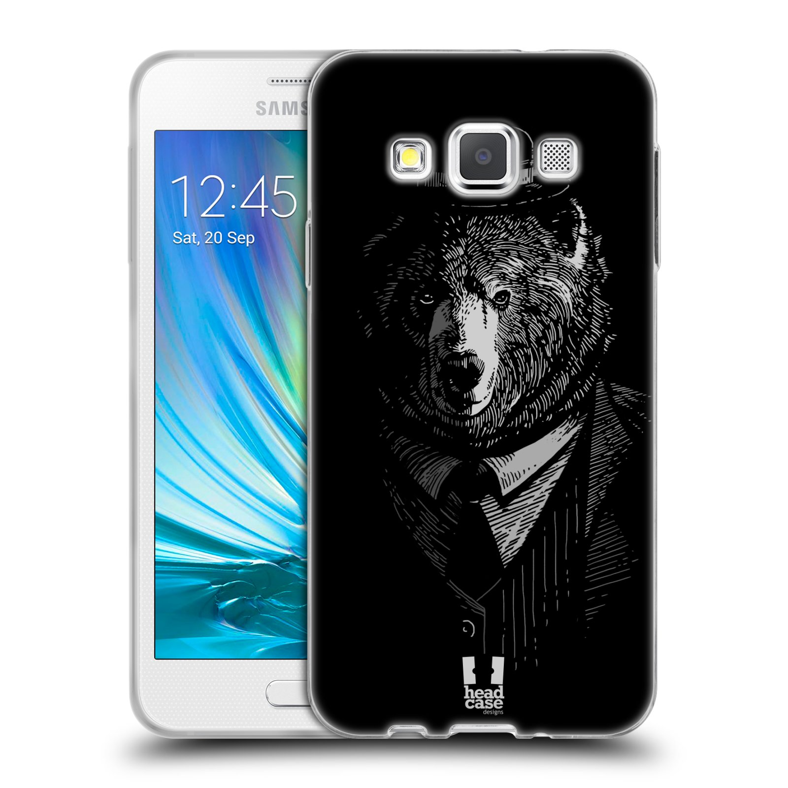 Silikonové pouzdro na mobil Samsung Galaxy A3 HEAD CASE MEDVĚD V KVÁDRU