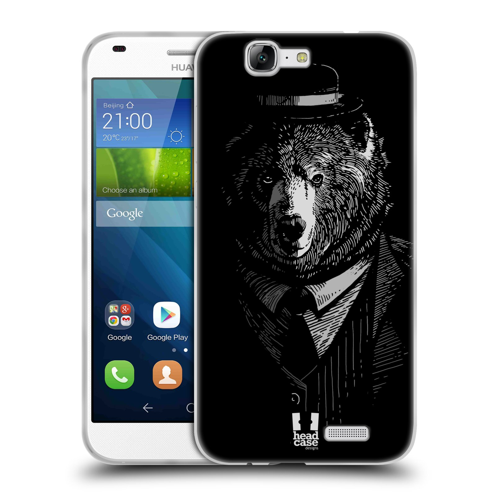 Silikonové pouzdro na mobil Huawei Ascend G7 HEAD CASE MEDVĚD V KVÁDRU (Silikonový kryt či obal na mobilní telefon Huawei Ascend G7)
