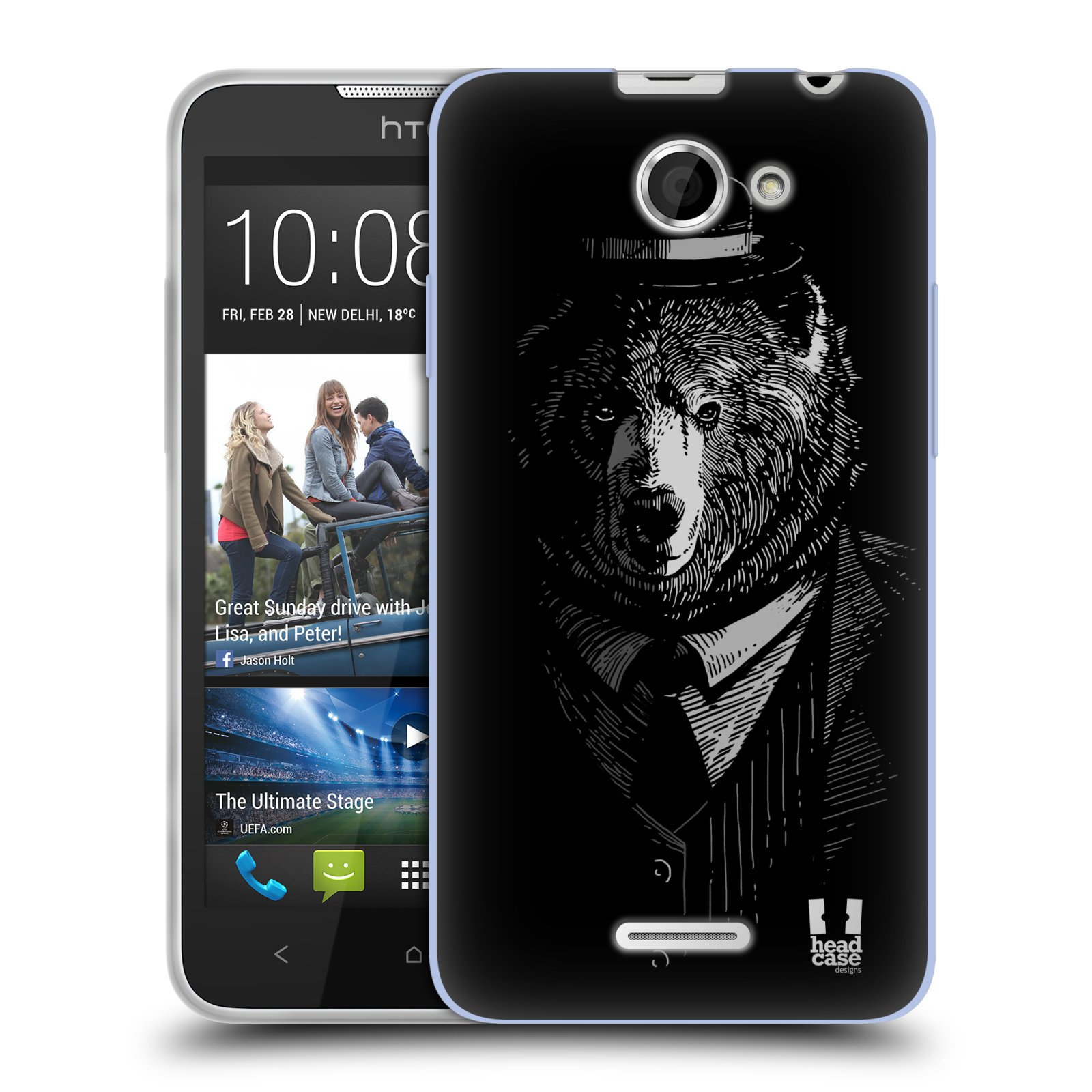 Silikonové pouzdro na mobil HTC Desire 516 HEAD CASE MEDVĚD V KVÁDRU (Silikonový kryt či obal na mobilní telefon HTC Desire 516 Dual SIM)