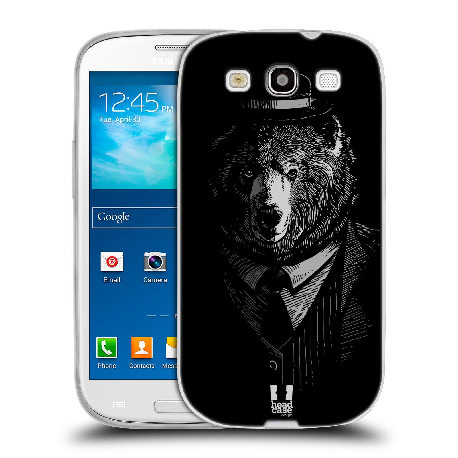 Silikonové pouzdro na mobil Samsung Galaxy S III HEAD CASE MEDVĚD V KVÁDRU (Silikonový kryt či obal na mobilní telefon Samsung Galaxy S III GT-i9300)