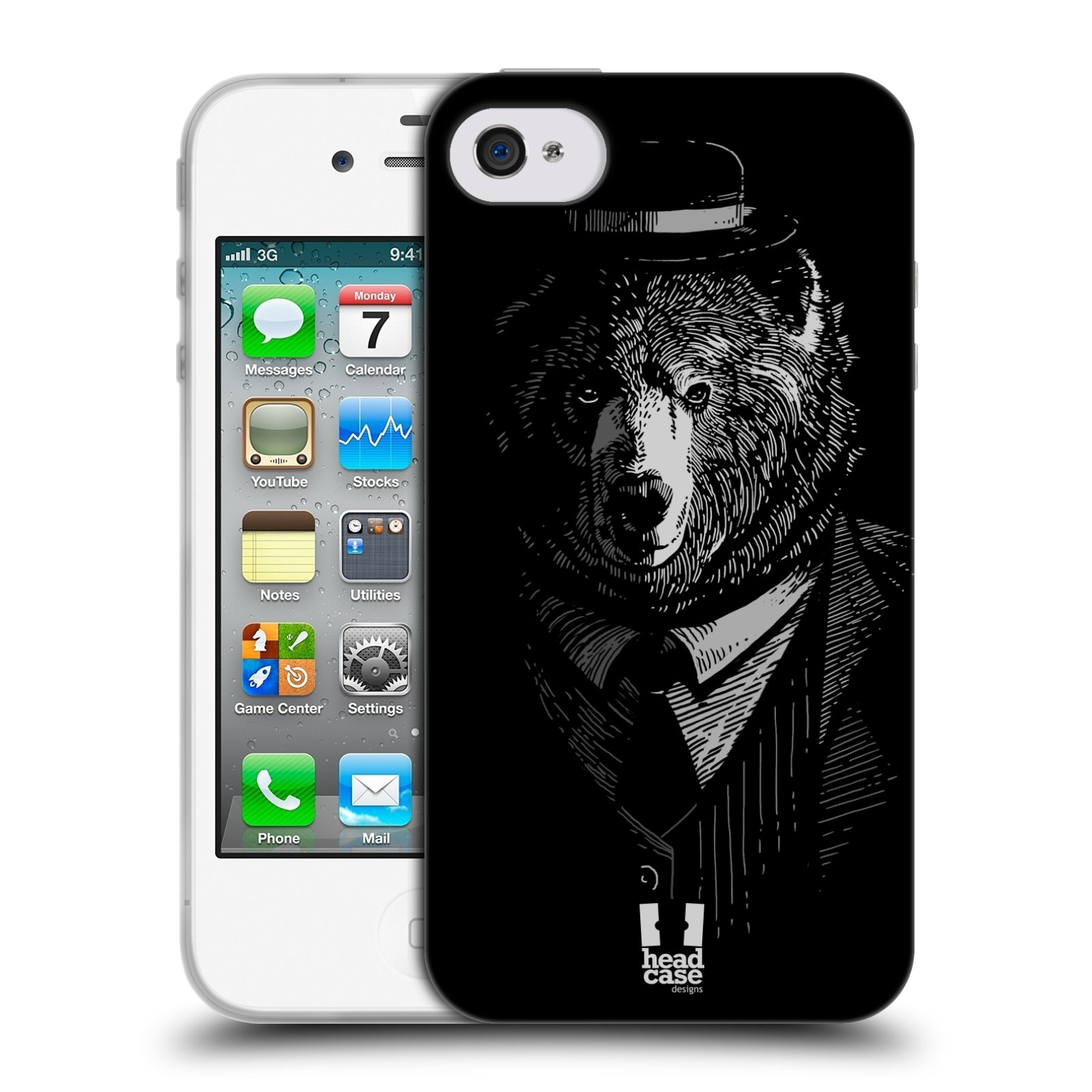 Silikonové pouzdro na mobil Apple iPhone 4 a 4S HEAD CASE MEDVĚD V KVÁDRU (Silikonový kryt či obal na mobilní telefon Apple iPhone 4 a 4S)