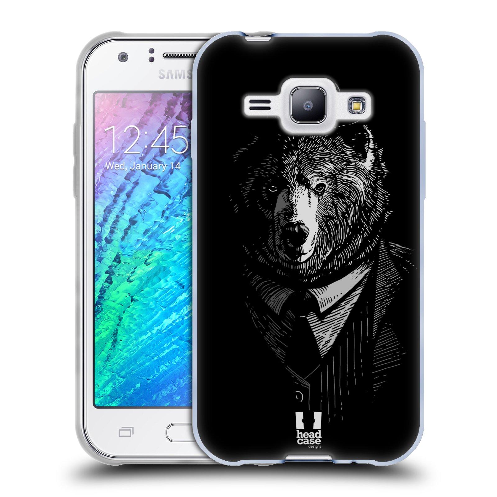 Silikonové pouzdro na mobil Samsung Galaxy J1 HEAD CASE MEDVĚD V KVÁDRU (Silikonový kryt či obal na mobilní telefon Samsung Galaxy J1 a J1 Duos)