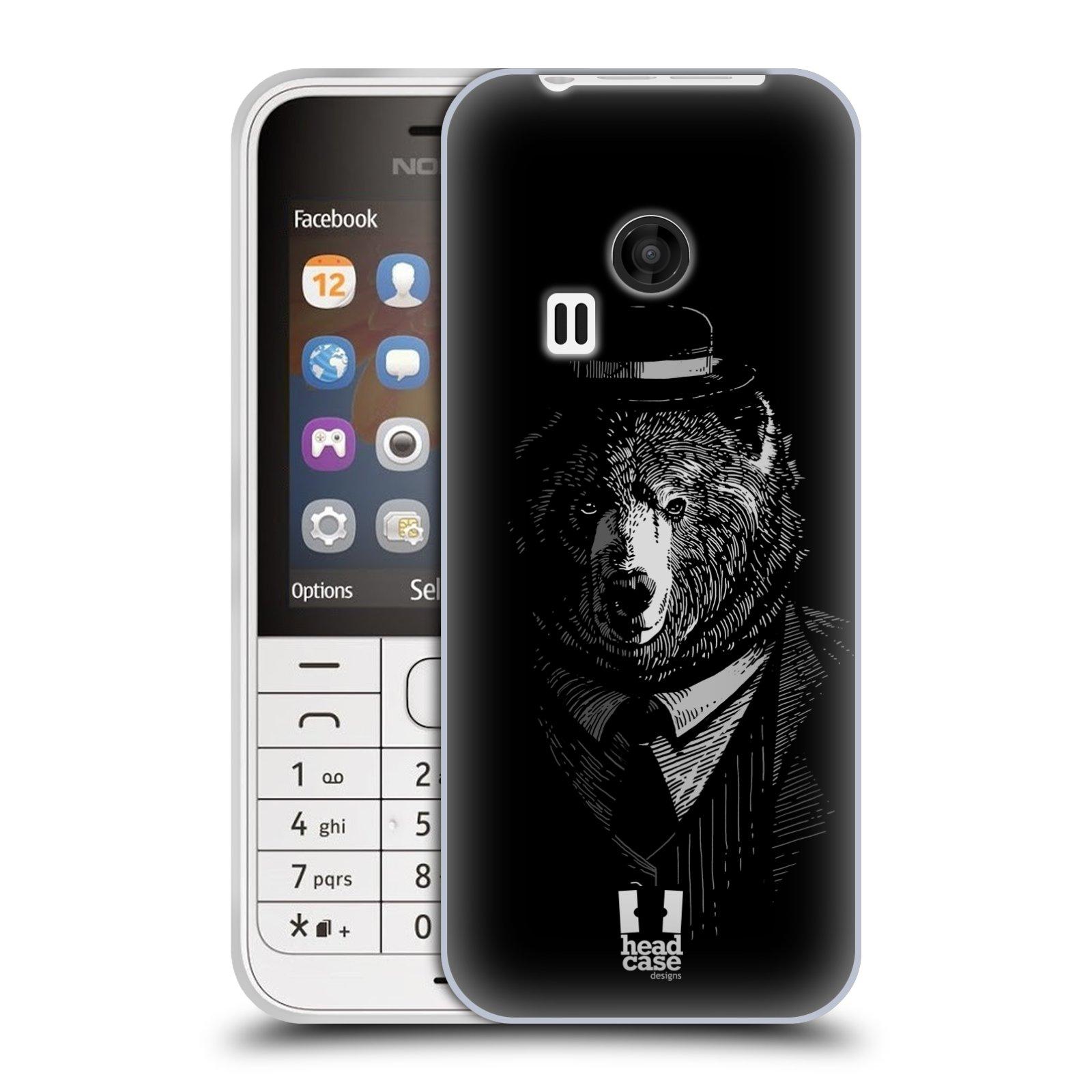Silikonové pouzdro na mobil Nokia 220 HEAD CASE MEDVĚD V KVÁDRU (Silikonový kryt či obal na mobilní telefon Nokia 220 a 220 Dual SIM)