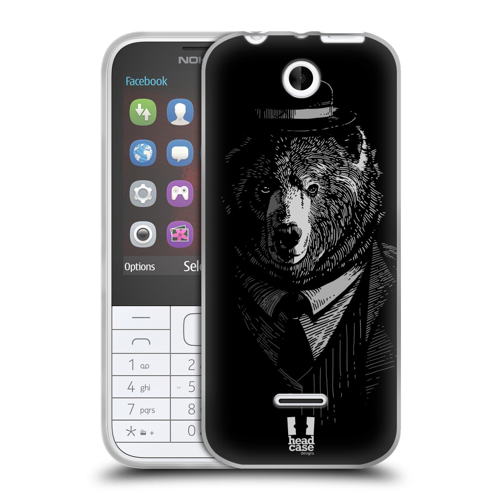 Silikonové pouzdro na mobil Nokia 225 HEAD CASE MEDVĚD V KVÁDRU (Silikonový kryt či obal na mobilní telefon Nokia 225)