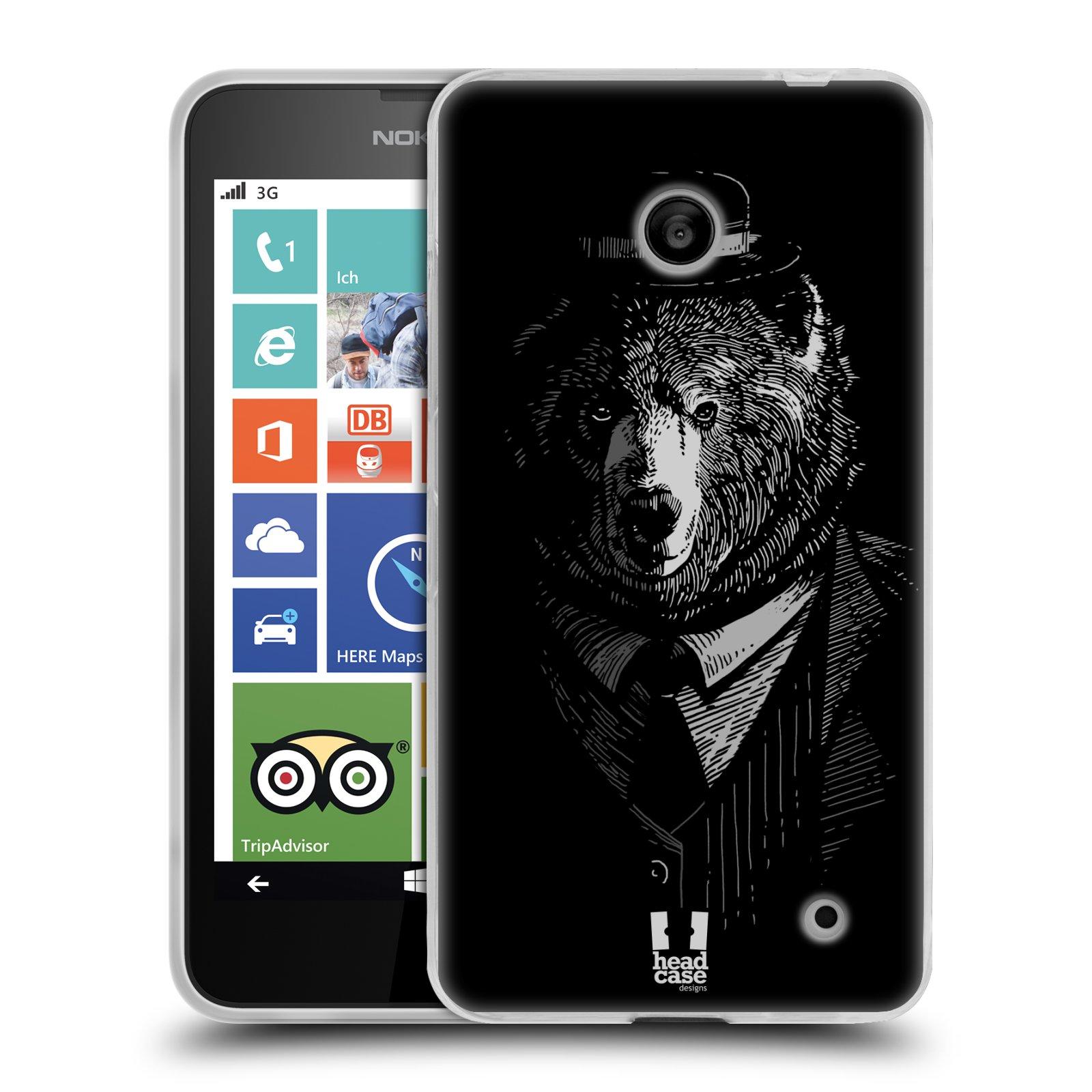 Silikonové pouzdro na mobil Nokia Lumia 630 HEAD CASE MEDVĚD V KVÁDRU (Silikonový kryt či obal na mobilní telefon Nokia Lumia 630 a Nokia Lumia 630 Dual SIM)