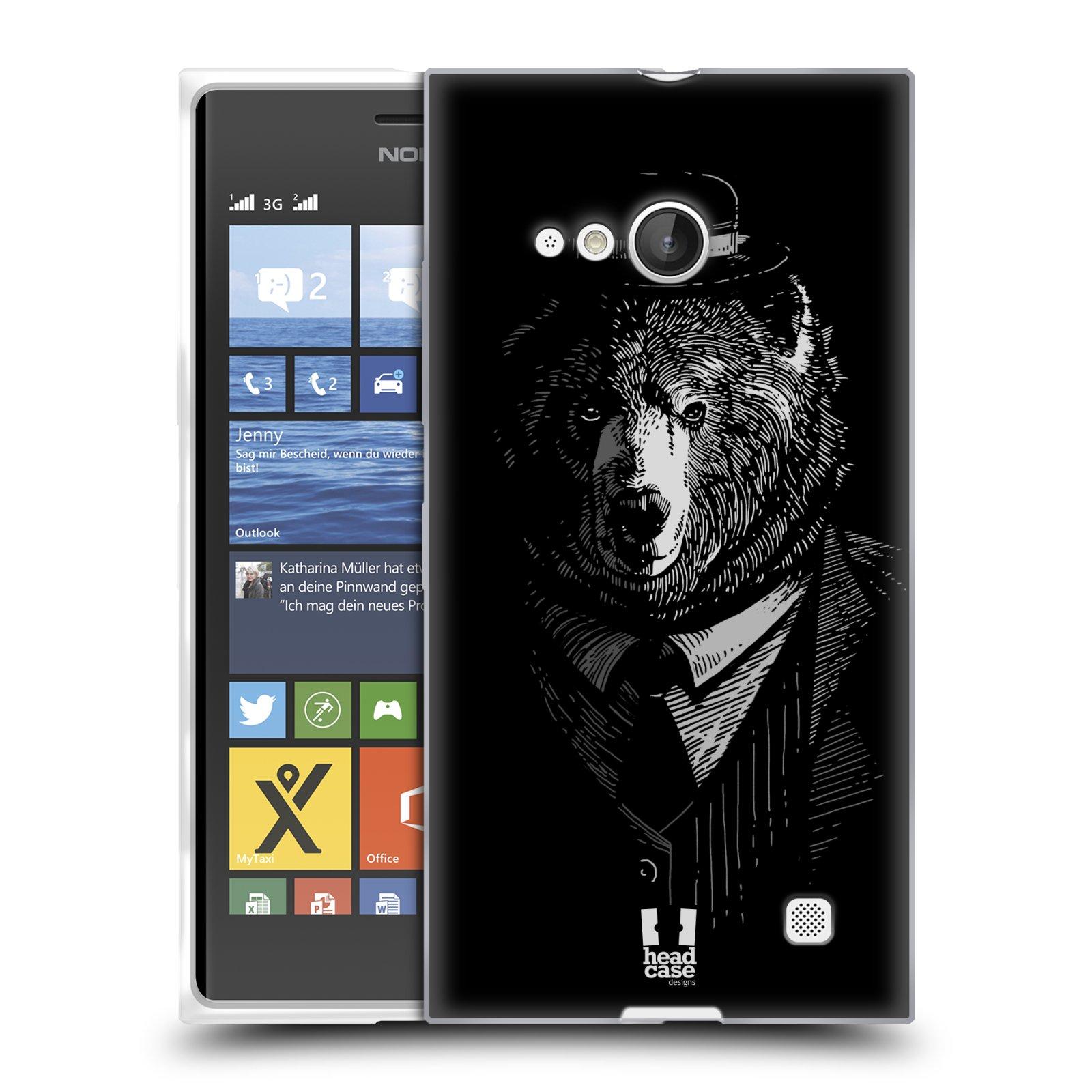 Silikonové pouzdro na mobil Nokia Lumia 730 Dual SIM HEAD CASE MEDVĚD V KVÁDRU (Silikonový kryt či obal na mobilní telefon Nokia Lumia 730 Dual SIM)