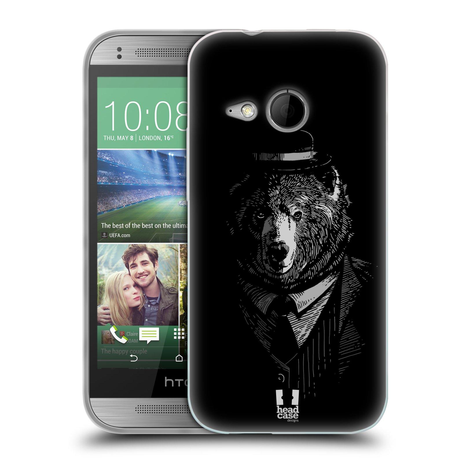 Silikonové pouzdro na mobil HTC ONE Mini 2 HEAD CASE MEDVĚD V KVÁDRU (Silikonový kryt či obal na mobilní telefon HTC ONE Mini 2)