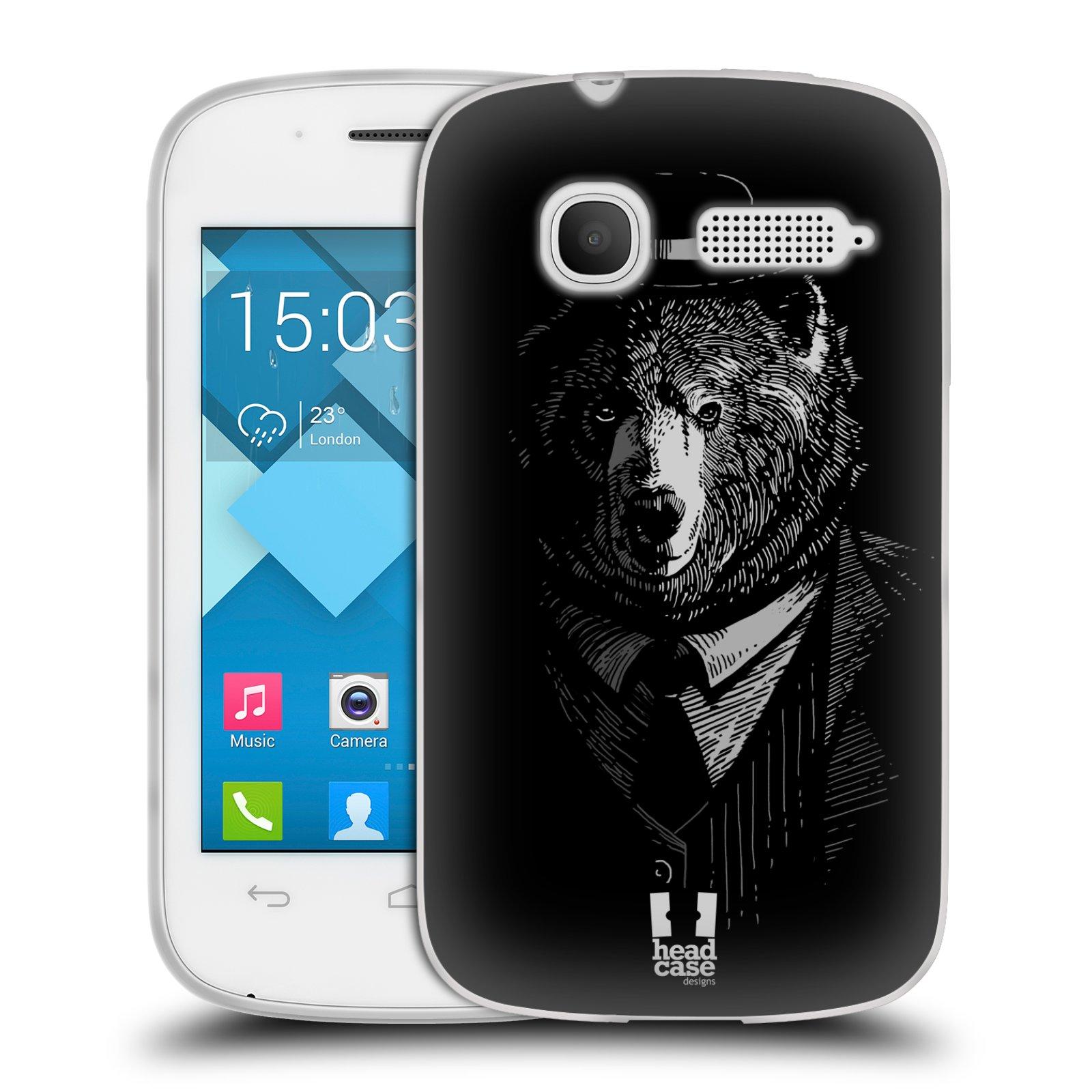 Silikonové pouzdro na mobil Alcatel One Touch Pop C1 HEAD CASE MEDVĚD V KVÁDRU (Silikonový kryt či obal na mobilní telefon Alcatel OT-4015D POP C1)