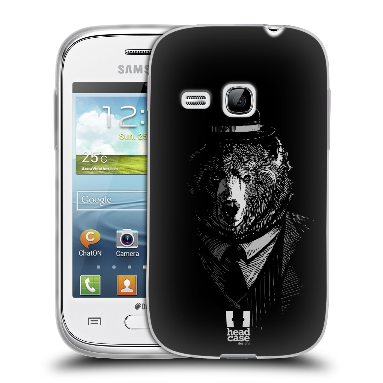 Silikonové pouzdro na mobil Samsung Galaxy Young HEAD CASE MEDVĚD V KVÁDRU (Silikonový kryt či obal na mobilní telefon Samsung Galaxy Young GT-S6310)