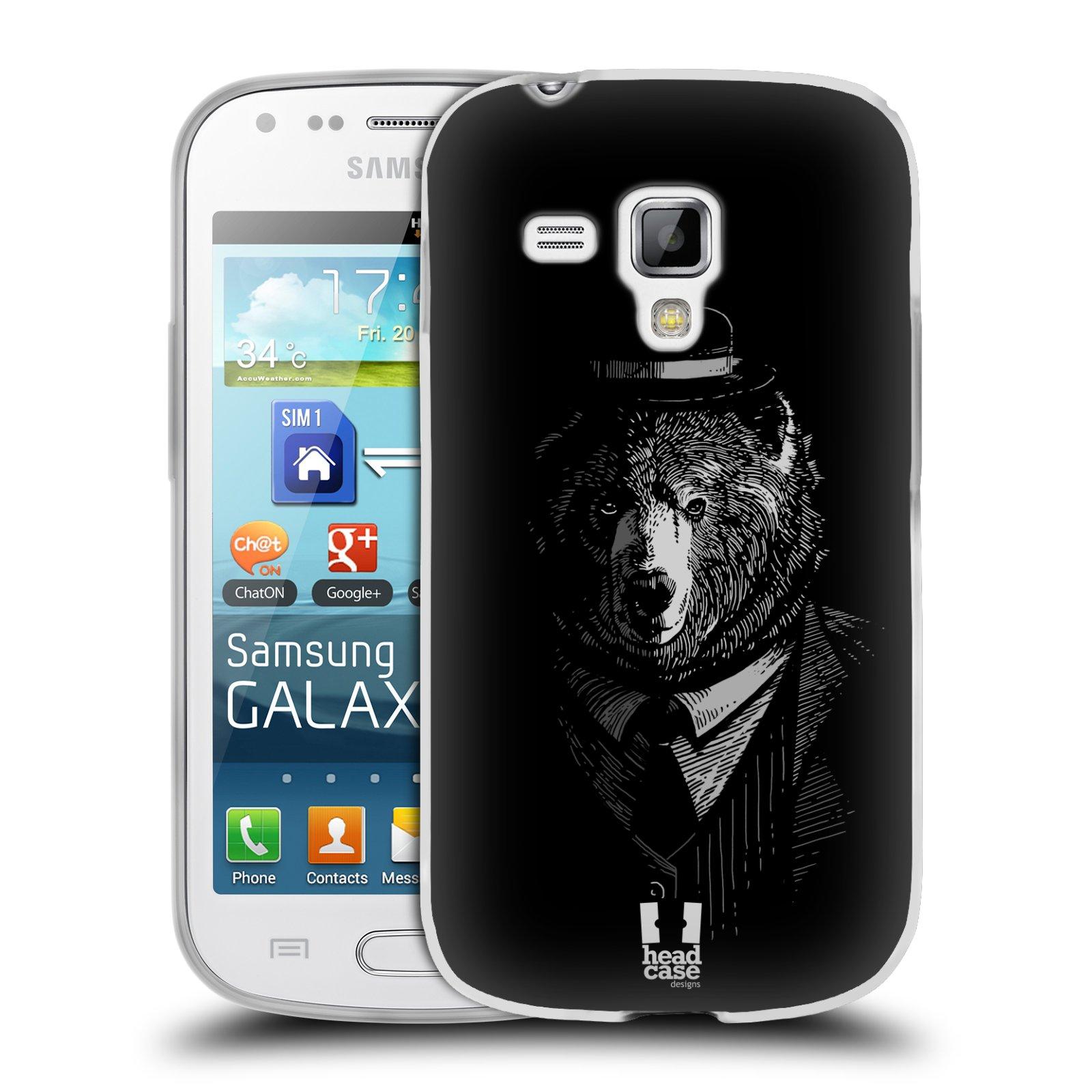 Silikonové pouzdro na mobil Samsung Galaxy Trend HEAD CASE MEDVĚD V KVÁDRU (Silikonový kryt či obal na mobilní telefon Samsung Galaxy Trend GT-S7560)