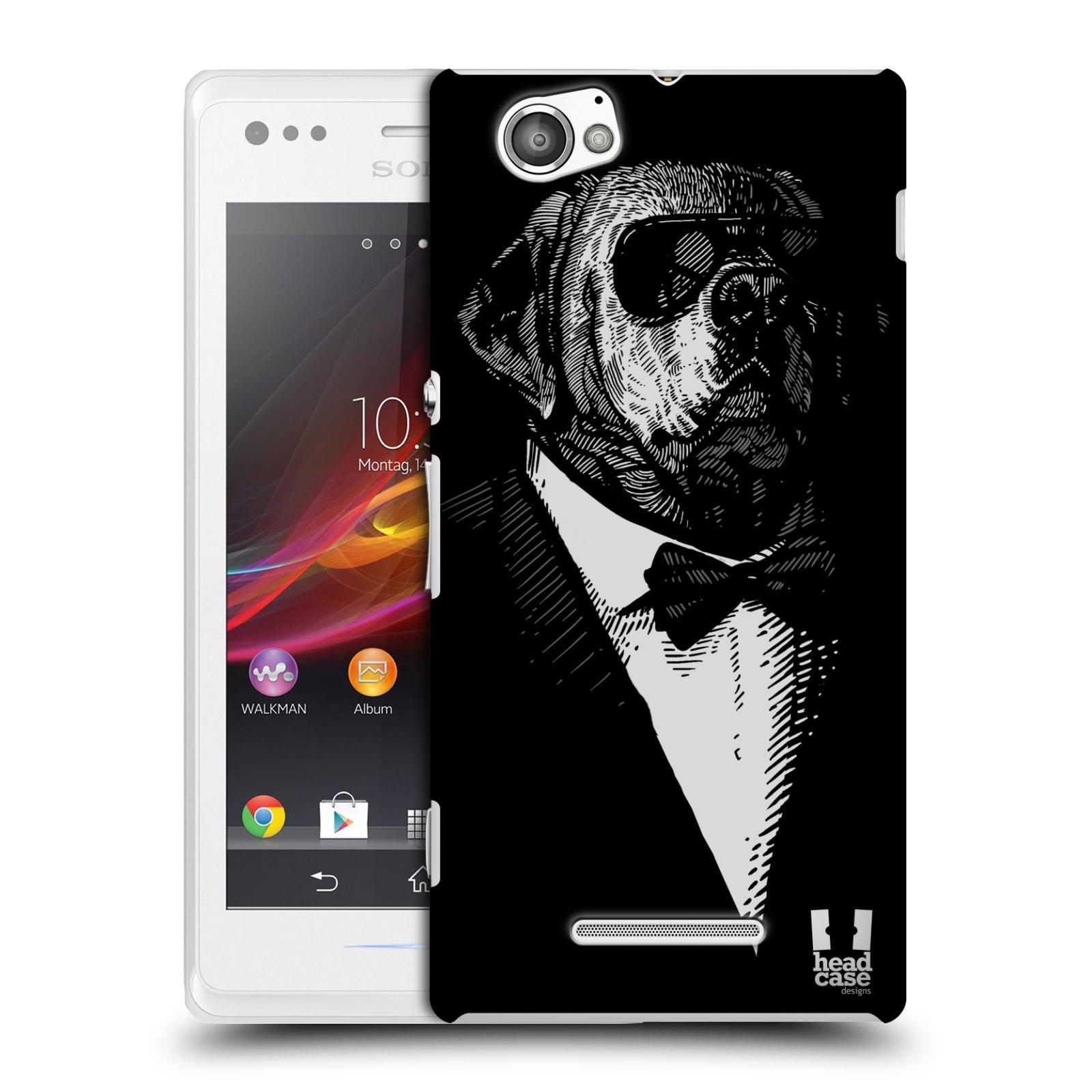 Plastové pouzdro na mobil Sony Xperia M C1905 HEAD CASE PSISKO V KVÁDRU (Kryt či obal na mobilní telefon Sony Xperia M a M Dual)