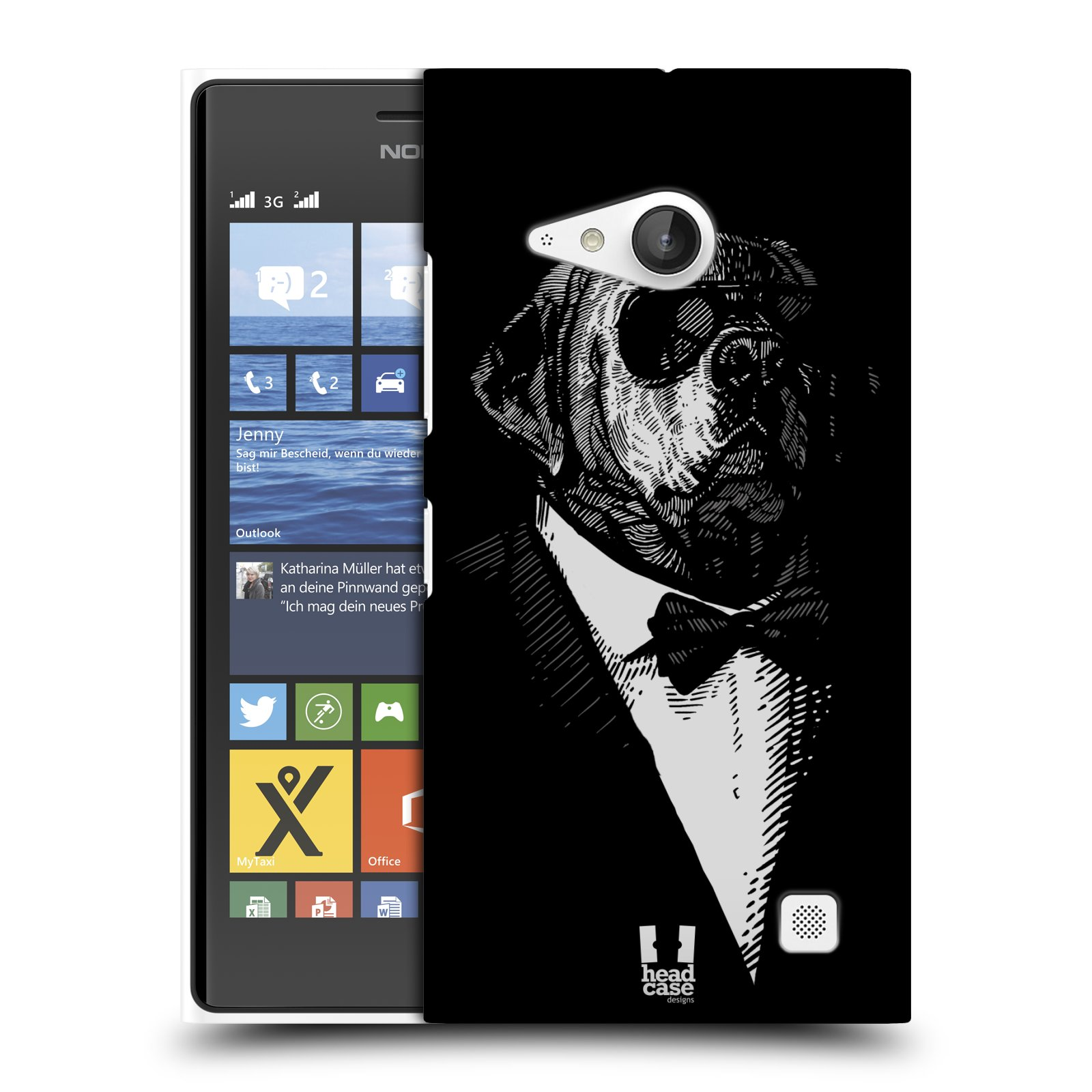 Plastové pouzdro na mobil Nokia Lumia 730 Dual SIM HEAD CASE PSISKO V KVÁDRU (Kryt či obal na mobilní telefon Nokia Lumia 730 Dual SIM)