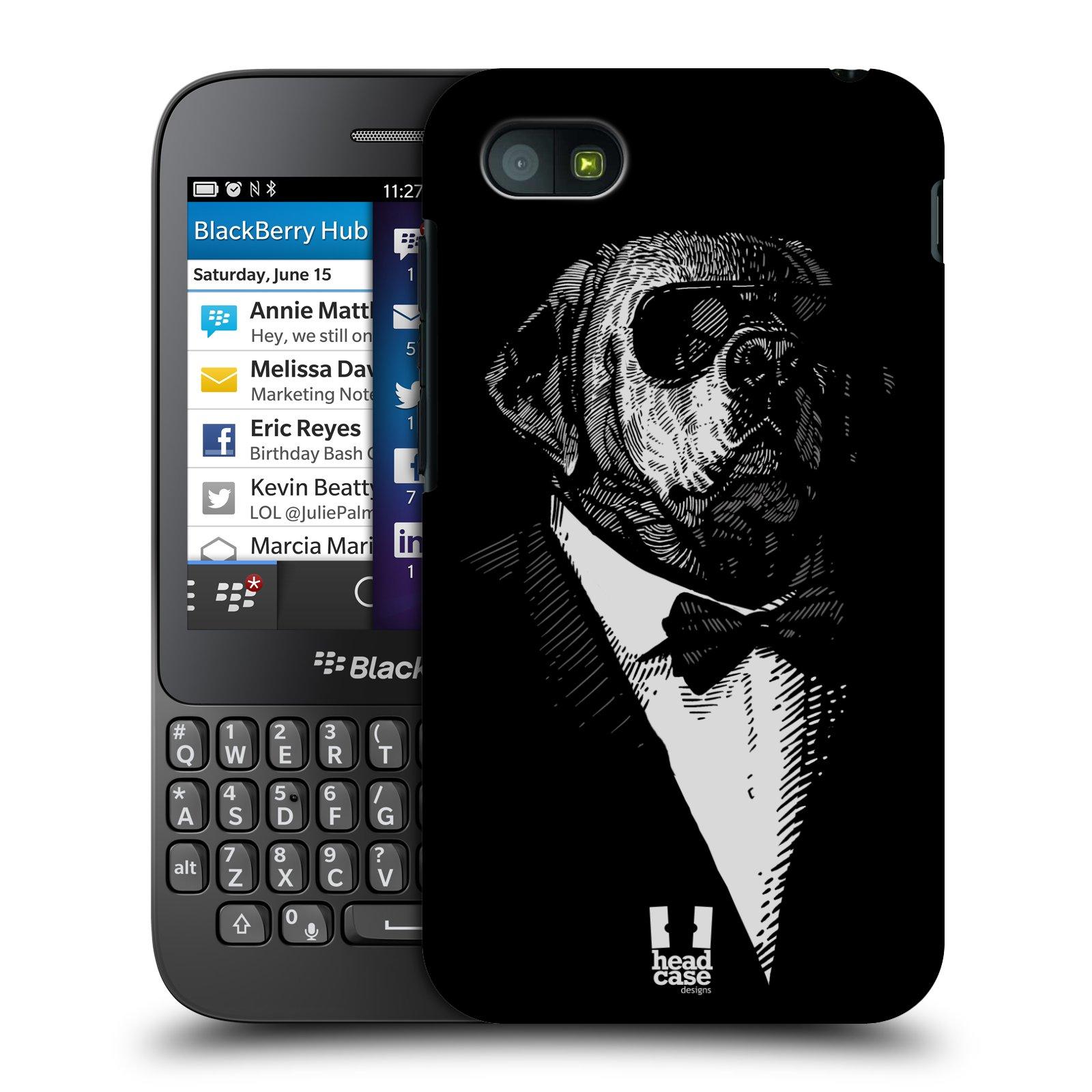 Plastové pouzdro na mobil Blackberry Q5 HEAD CASE PSISKO V KVÁDRU (Kryt či obal na mobilní telefon Blackberry Q5)