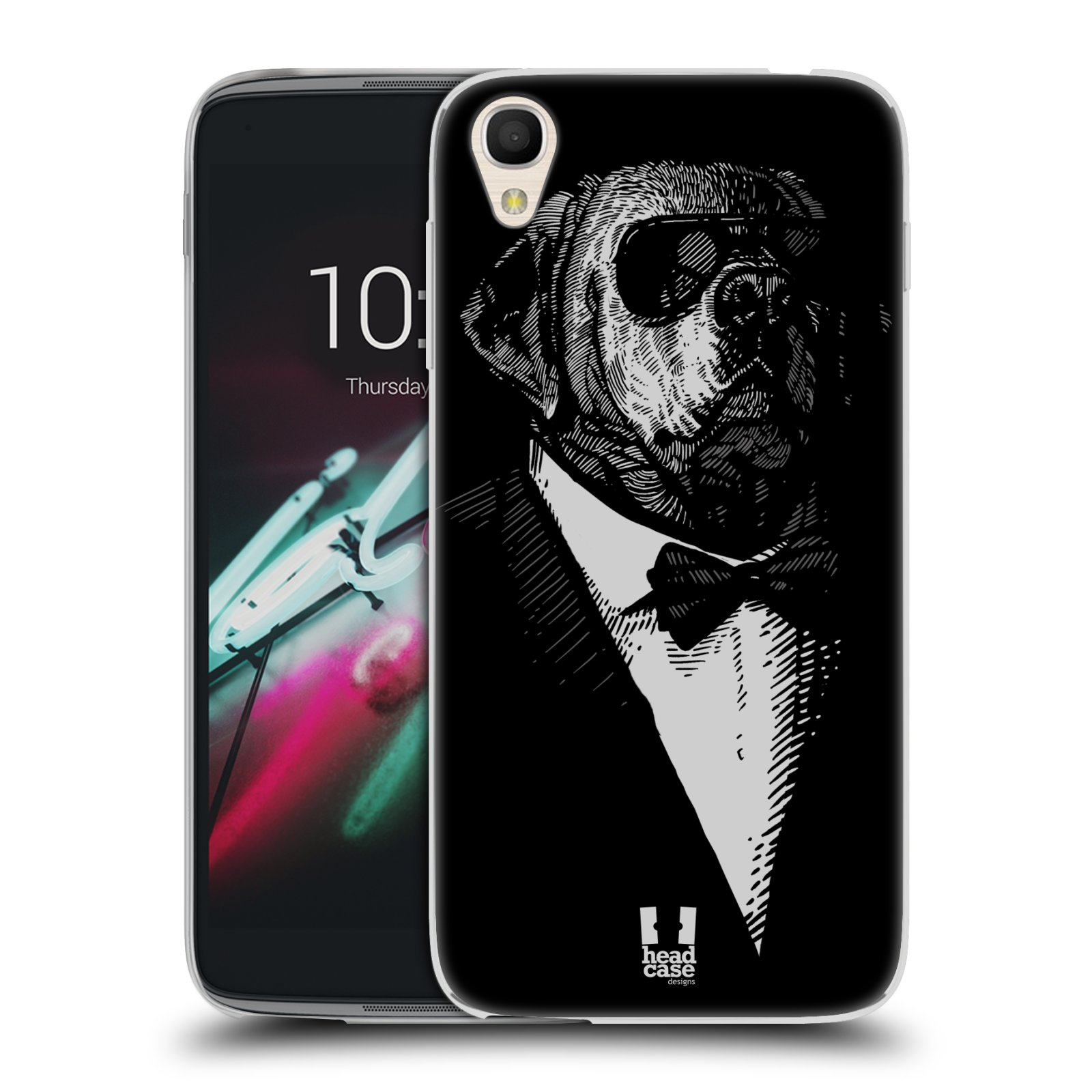 "Silikonové pouzdro na mobil Alcatel One Touch 6039Y Idol 3 HEAD CASE PSISKO V KVÁDRU (Silikonový kryt či obal na mobilní telefon Alcatel One Touch Idol 3 OT-6039Y s 4,7"" displejem)"