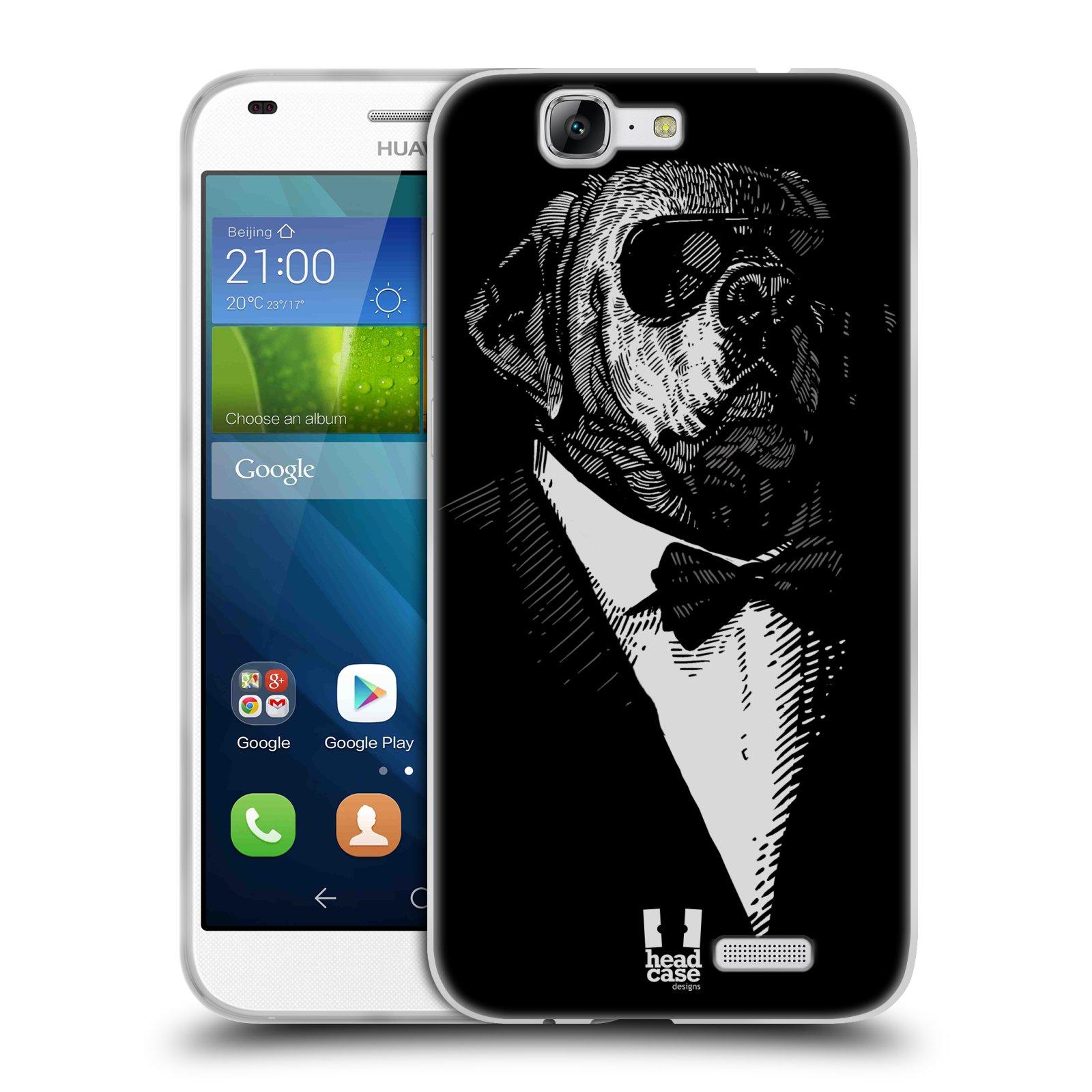 Silikonové pouzdro na mobil Huawei Ascend G7 HEAD CASE PSISKO V KVÁDRU (Silikonový kryt či obal na mobilní telefon Huawei Ascend G7)