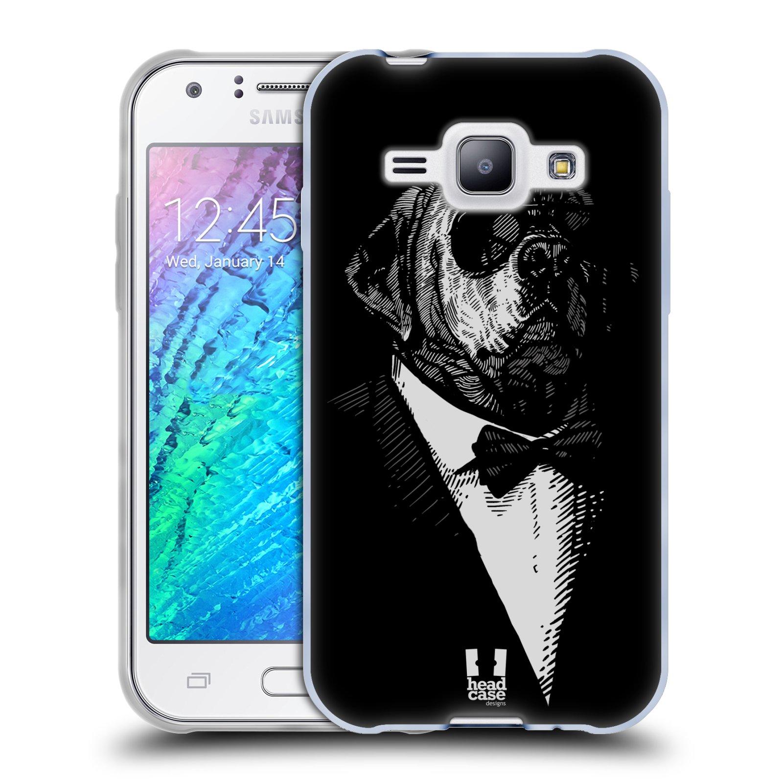 Silikonové pouzdro na mobil Samsung Galaxy J1 HEAD CASE PSISKO V KVÁDRU (Silikonový kryt či obal na mobilní telefon Samsung Galaxy J1 a J1 Duos)