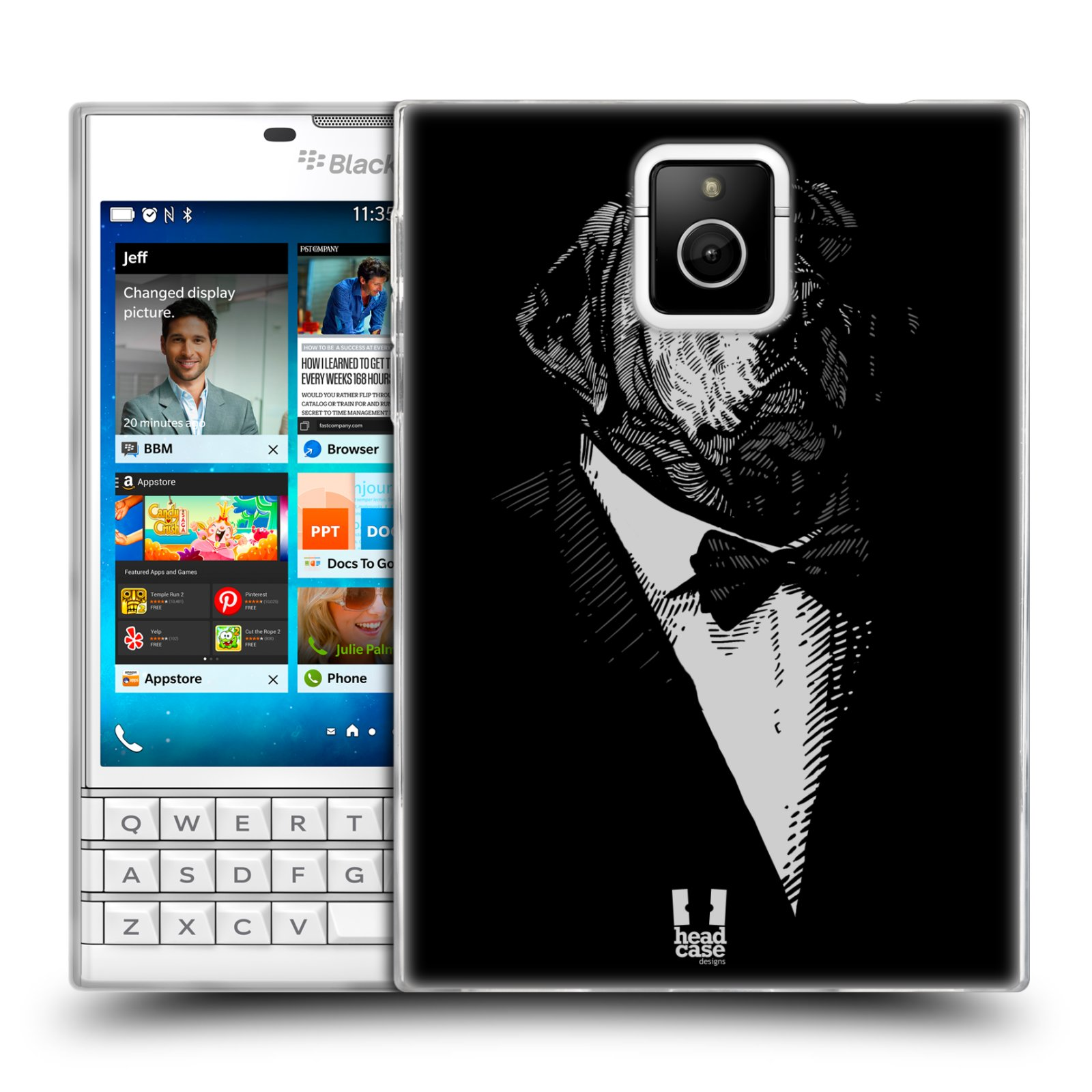 Silikonové pouzdro na mobil Blackberry PASSPORT HEAD CASE PSISKO V KVÁDRU (Silikonový kryt či obal na mobilní telefon Blackberry PASSPORT)