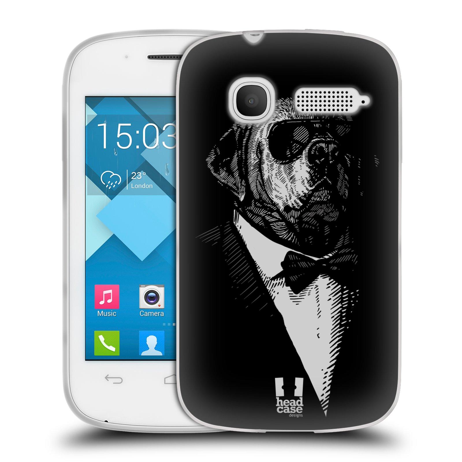 Silikonové pouzdro na mobil Alcatel One Touch Pop C1 HEAD CASE PSISKO V KVÁDRU (Silikonový kryt či obal na mobilní telefon Alcatel OT-4015D POP C1)
