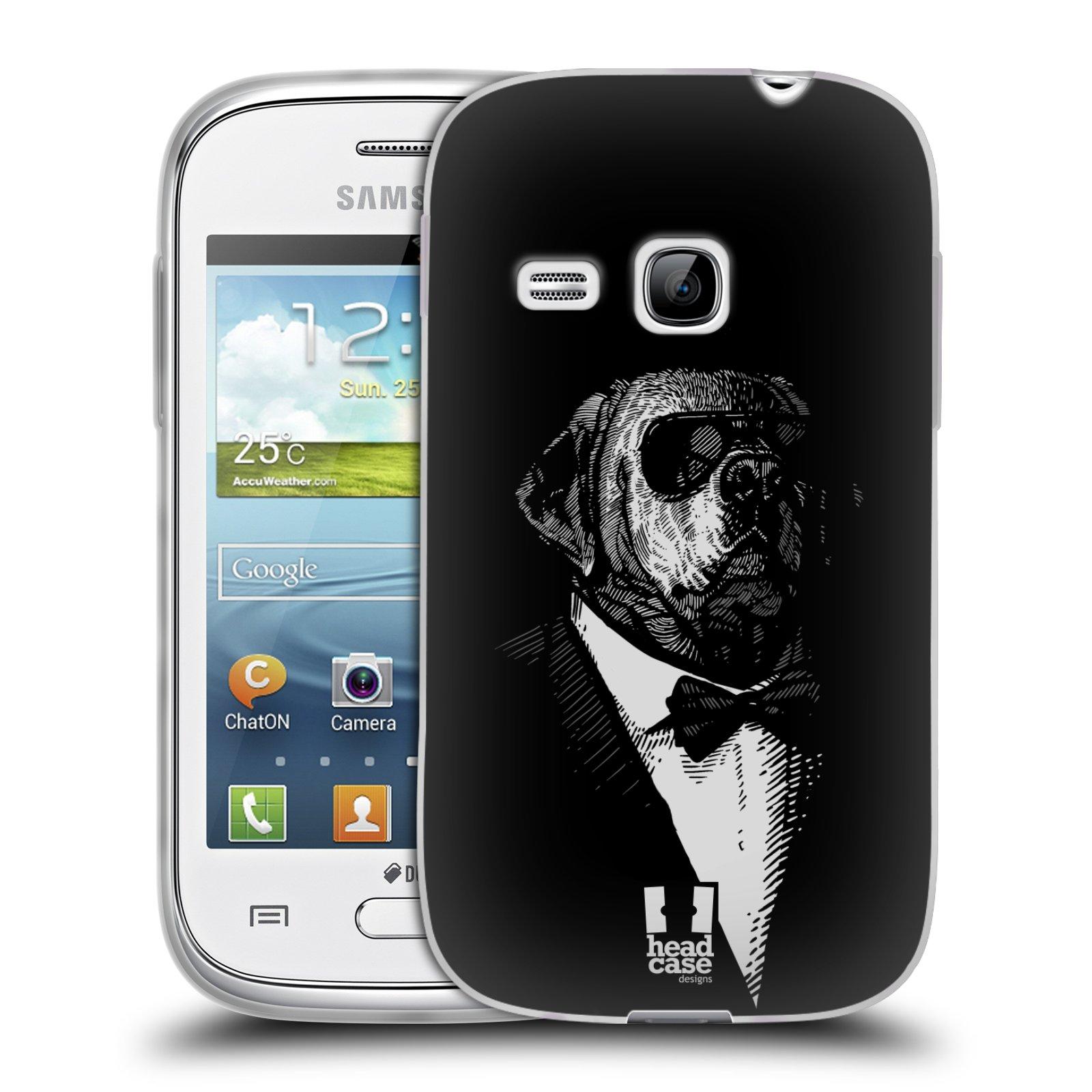 Silikonové pouzdro na mobil Samsung Galaxy Young HEAD CASE PSISKO V KVÁDRU (Silikonový kryt či obal na mobilní telefon Samsung Galaxy Young GT-S6310)