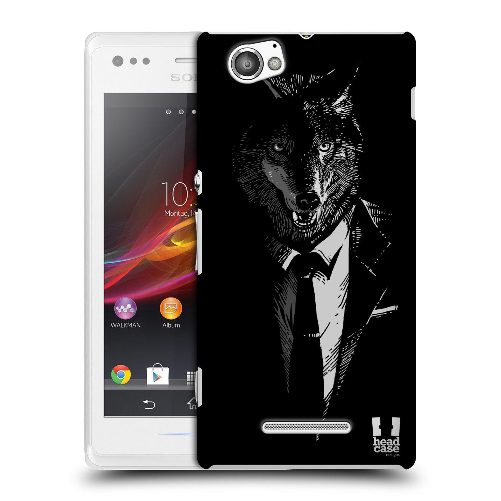Plastové pouzdro na mobil Sony Xperia M C1905 HEAD CASE VLK V KVÁDRU (Kryt či obal na mobilní telefon Sony Xperia M a M Dual)