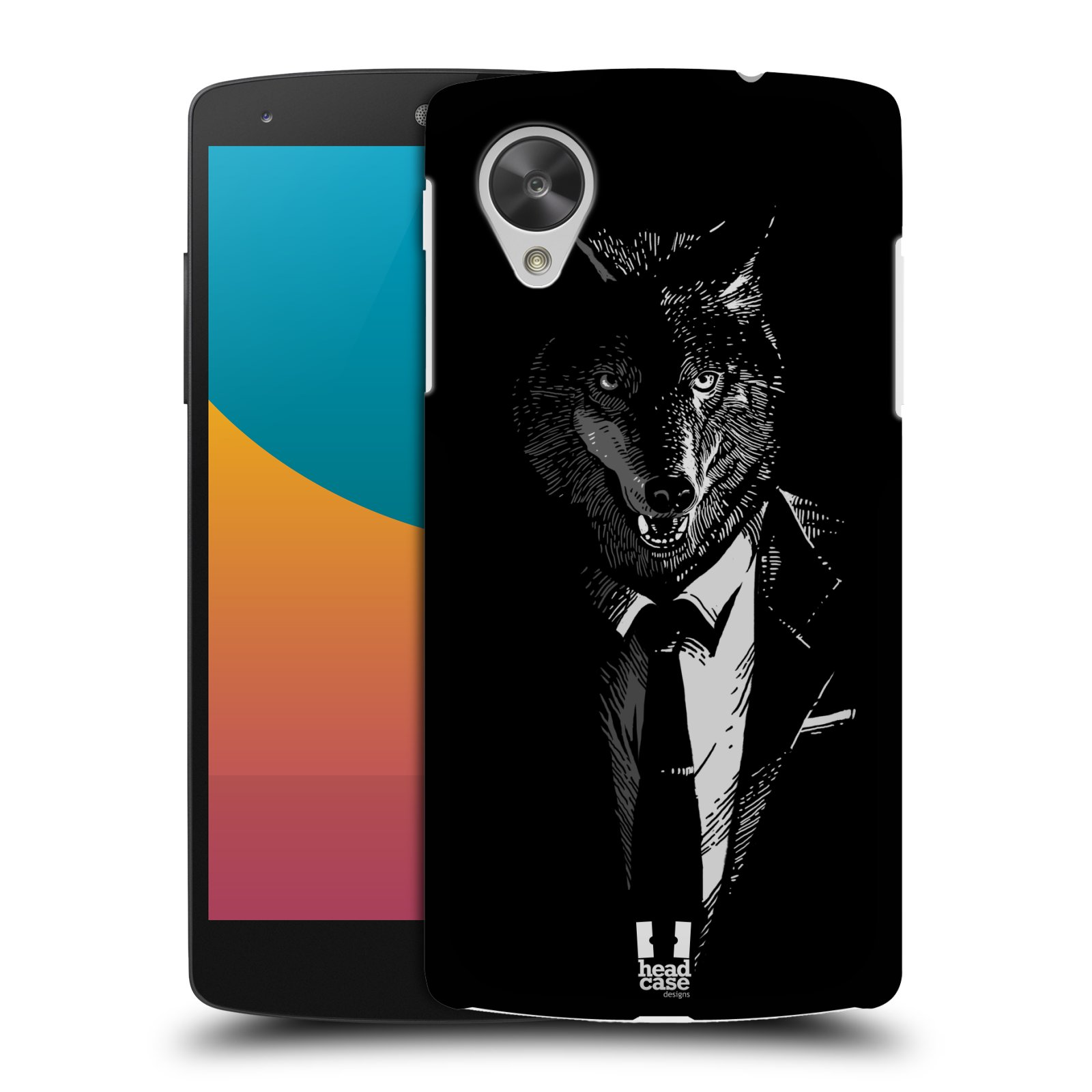 Plastové pouzdro na mobil LG Nexus 5 HEAD CASE VLK V KVÁDRU (Kryt či obal na mobilní telefon LG Google Nexus 5 D821)