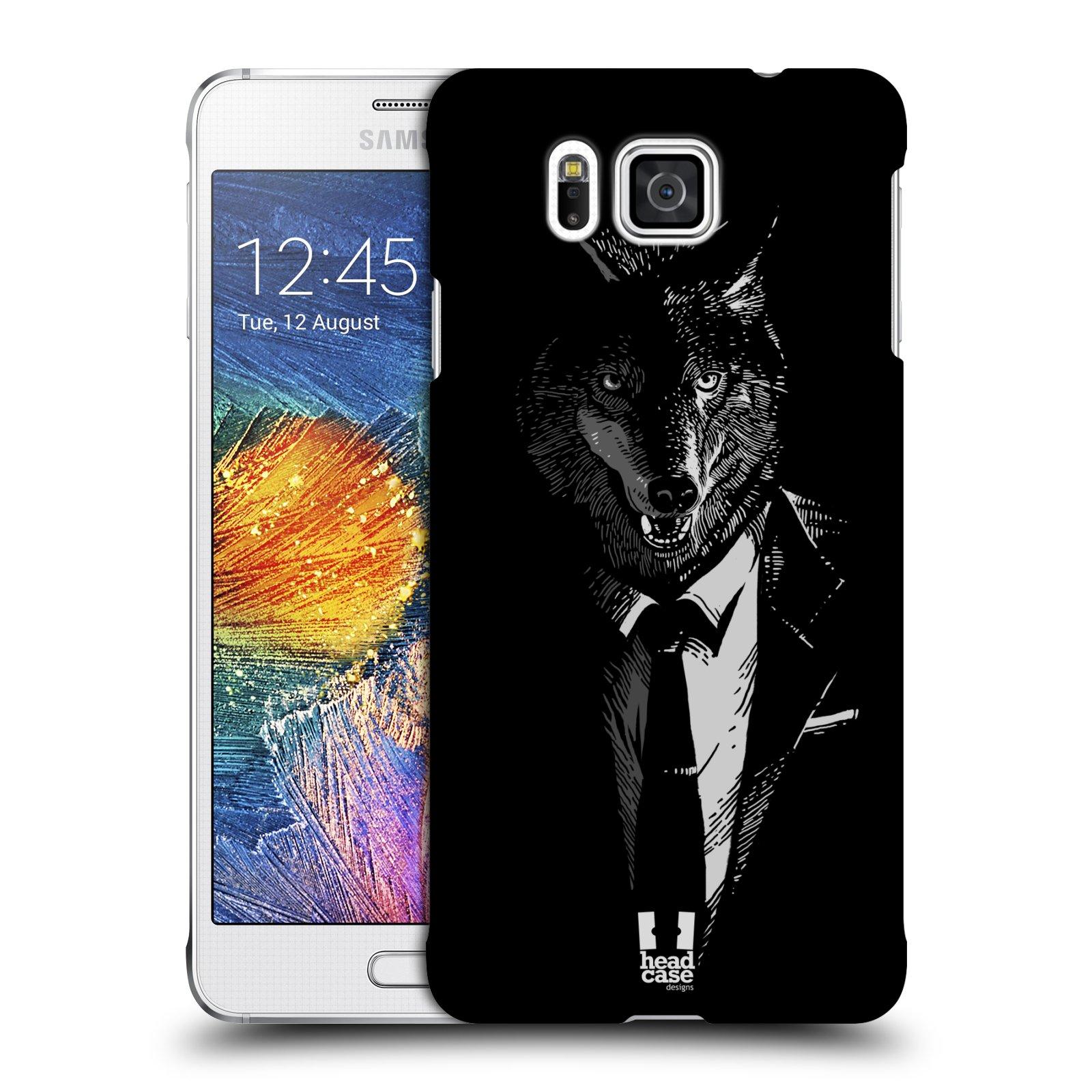 Plastové pouzdro na mobil Samsung Galaxy Alpha HEAD CASE VLK V KVÁDRU (Kryt či obal na mobilní telefon Samsung Galaxy Alpha SM-G850)