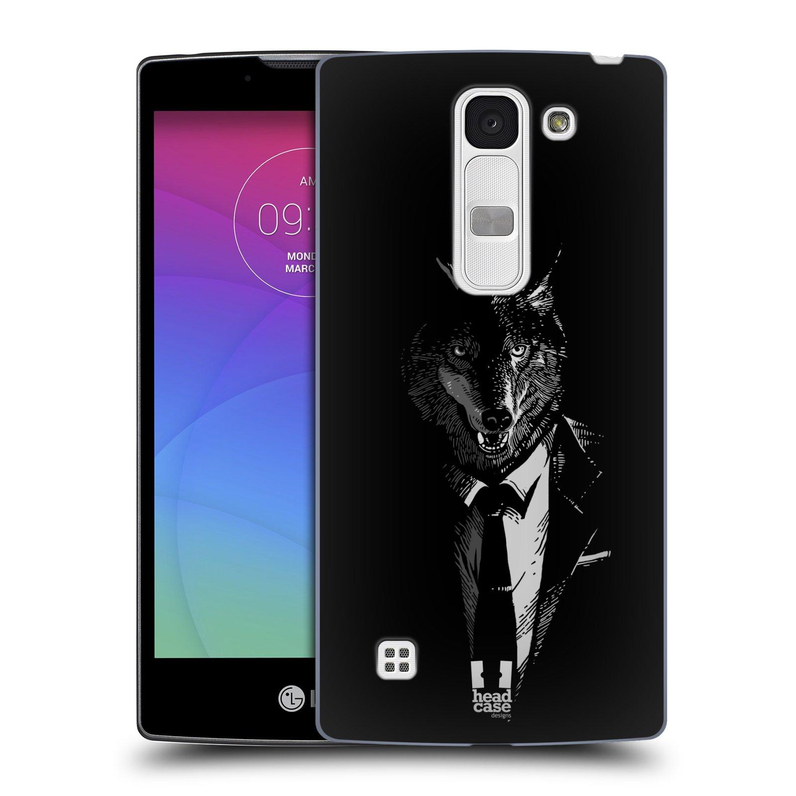 Plastové pouzdro na mobil LG Spirit LTE HEAD CASE VLK V KVÁDRU (Kryt či obal na mobilní telefon LG Spirit H420 a LG Spirit LTE H440N)