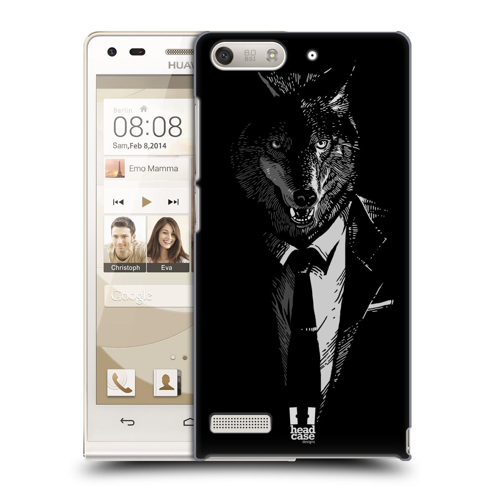 Plastové pouzdro na mobil Huawei Ascend G6 HEAD CASE VLK V KVÁDRU (Kryt či obal na mobilní telefon Huawei Ascend G6 bez LTE)